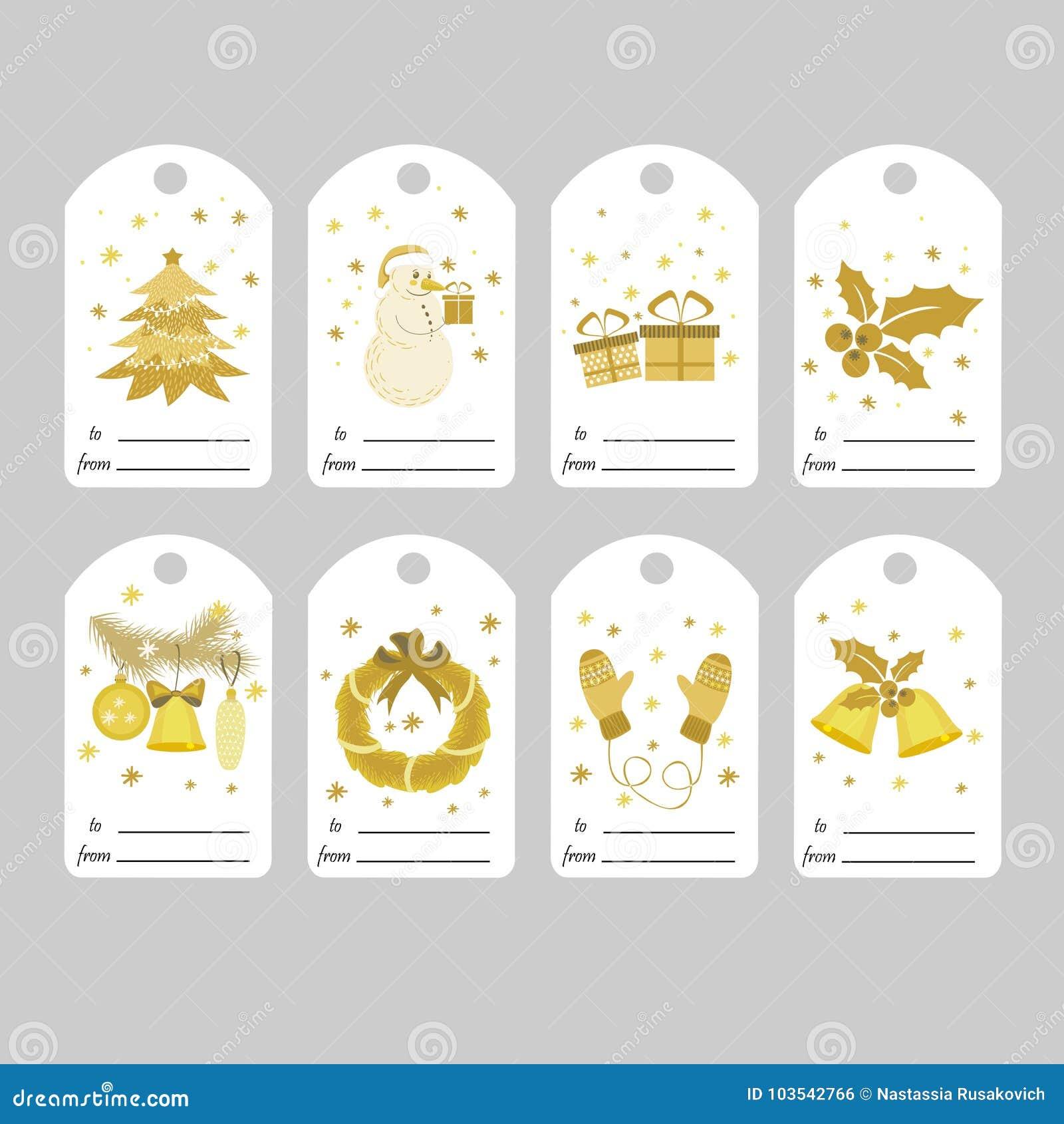 L Ensemble De Cadeau De Noel Etiquette Avec D Or Lumineux