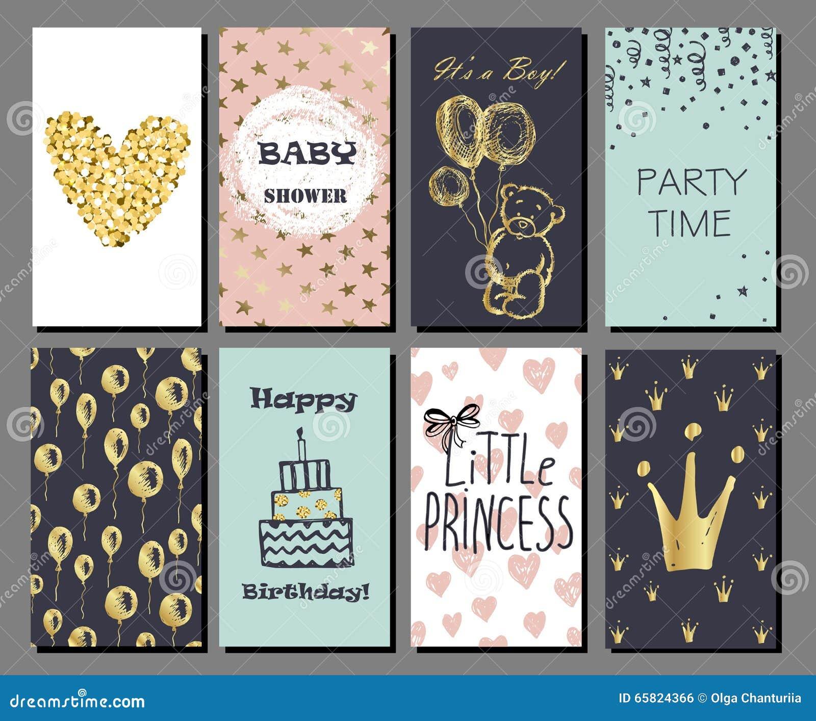 L ensemble de cartes mignonnes tirées par la main avec des confettis d or scintillent et déjouent