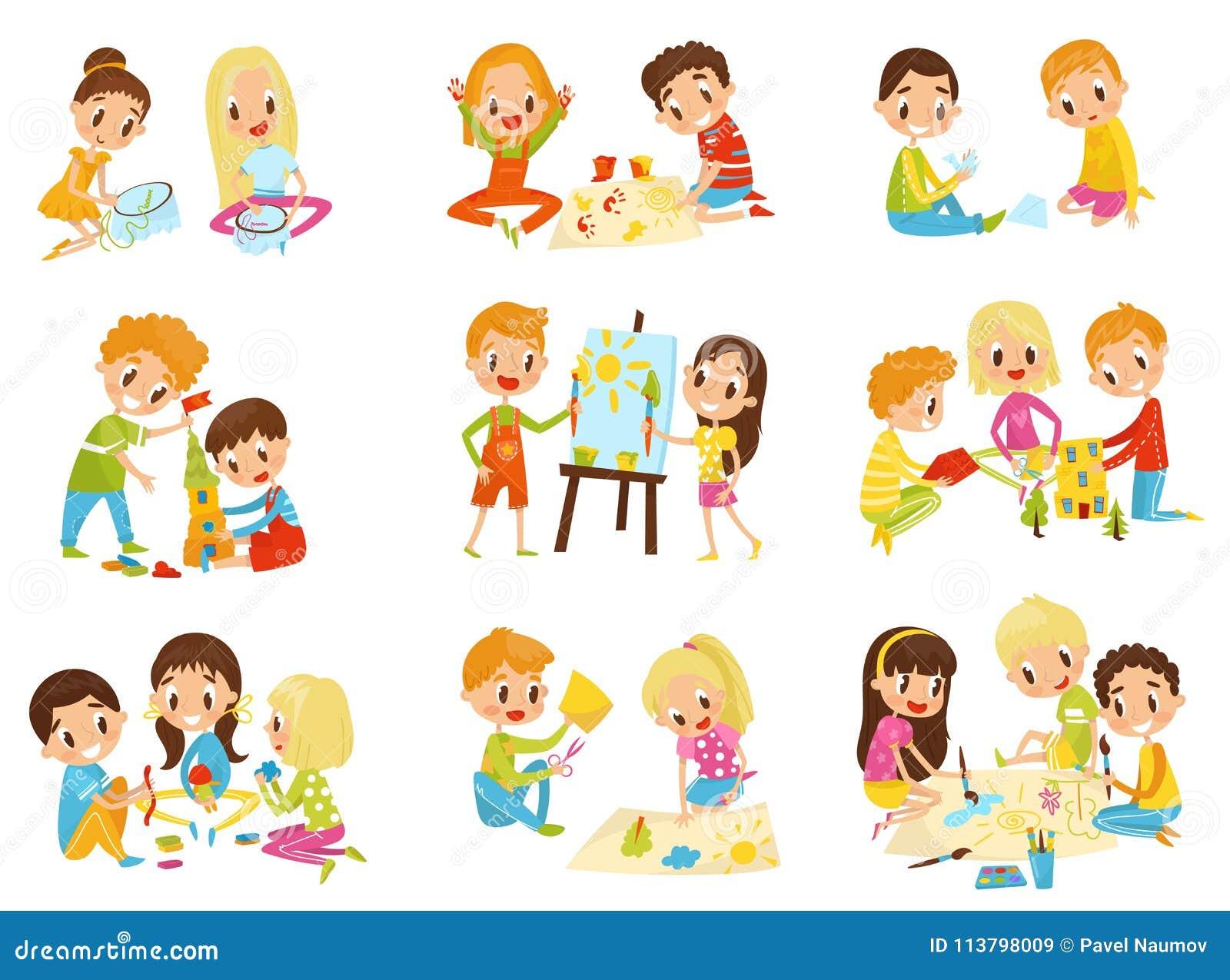 L ensemble de créativité d enfants, la créativité des enfants, l éducation et le concept de développement dirigent des illustrati