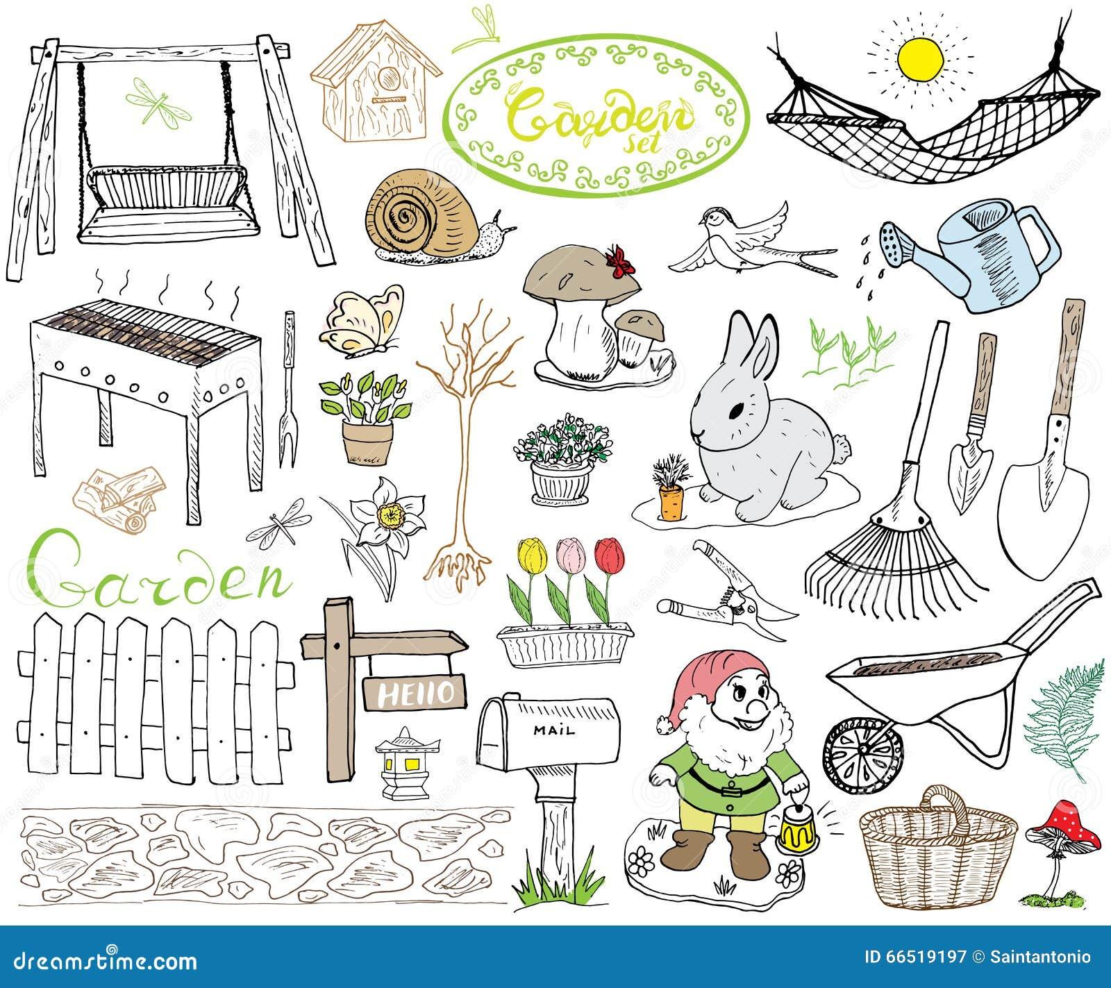 Les Outils De Jardinage Avec Photos l'ensemble de jardin gribouille des éléments le croquis tiré