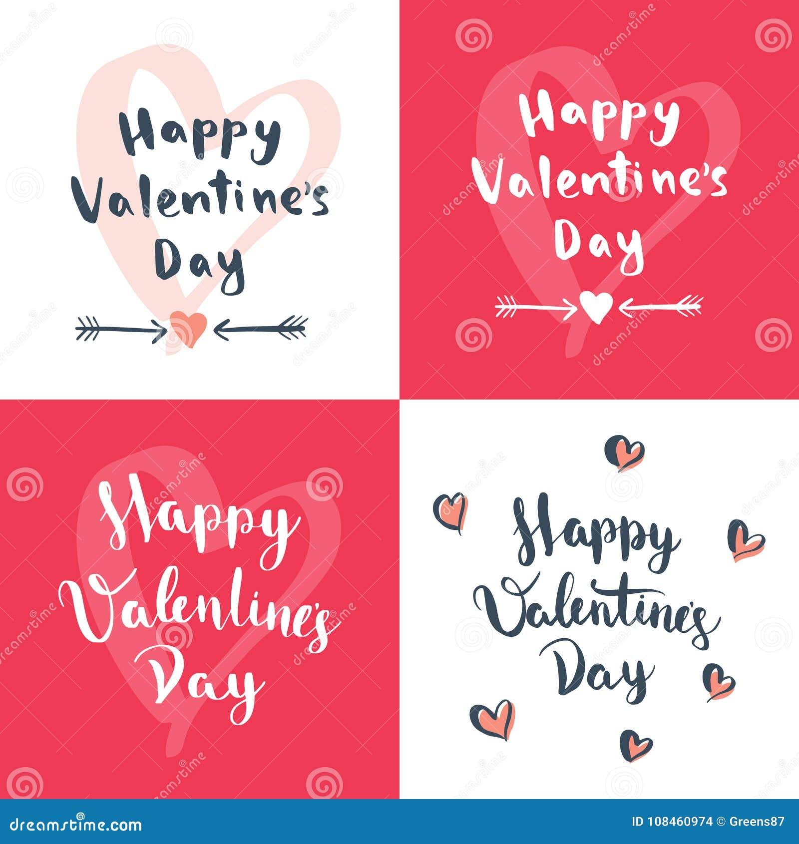 L ensemble de jour du ` s de quatre Valentine conçoit