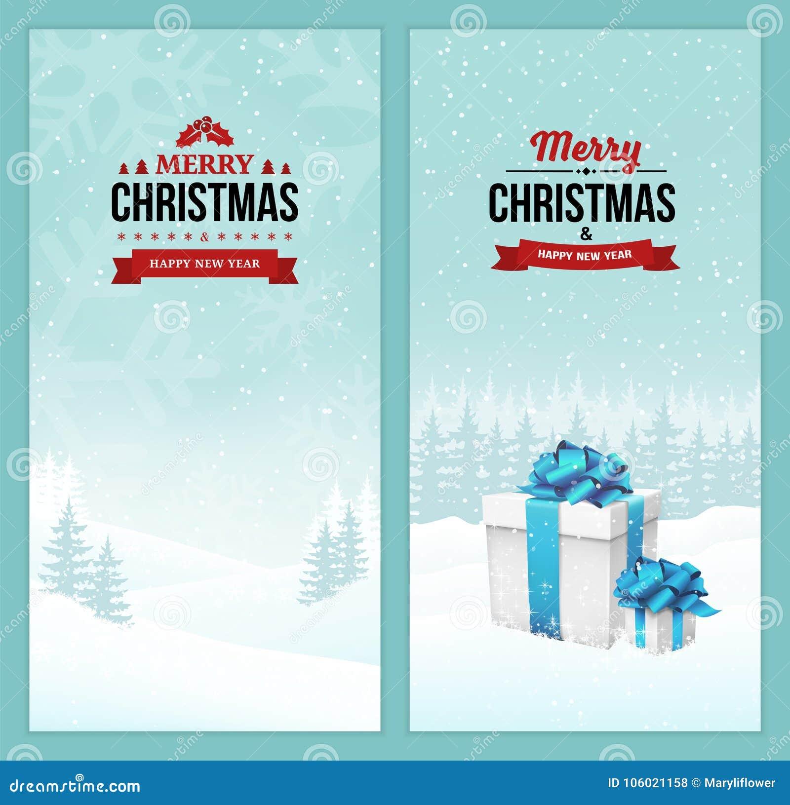 L ensemble de Joyeux Noël et de bonne année de bannières verticales avec des insignes de vintage sur la scène d hiver de vacances