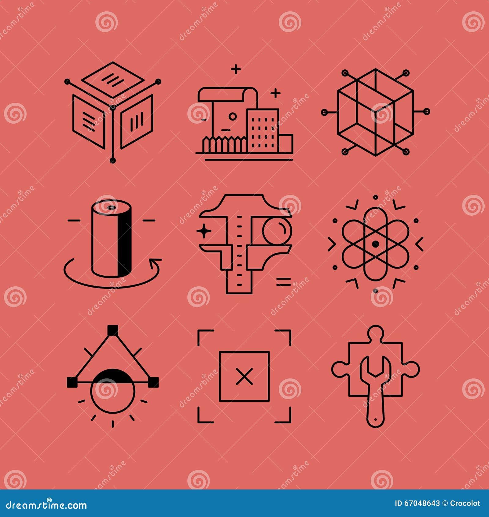 L ensemble de ligne dirige des icônes dans le style plat