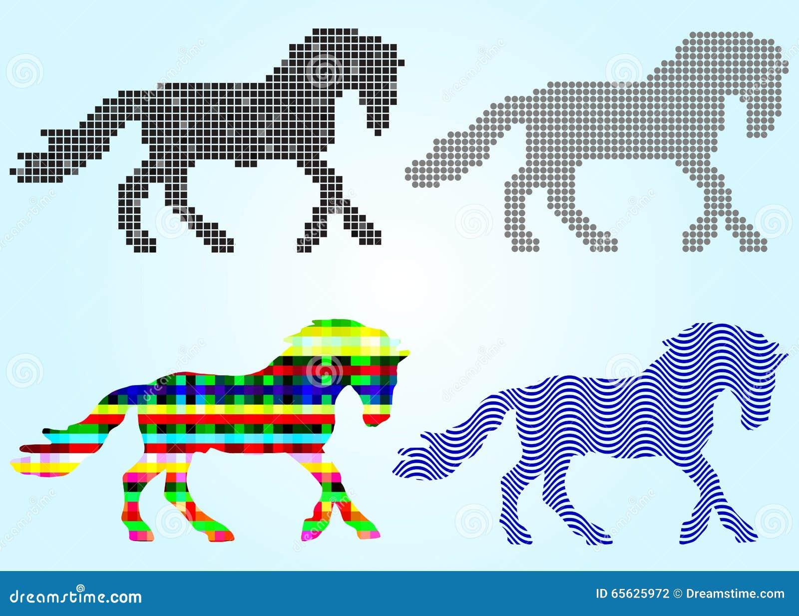 L ensemble de silhouettes de cheval ajuste, des cercles, vagues