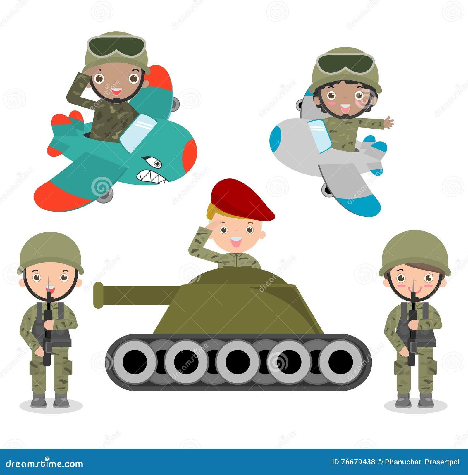 L ensemble de soldats, ensemble de soldat de bande dessinée, badine les costumes de port de soldats