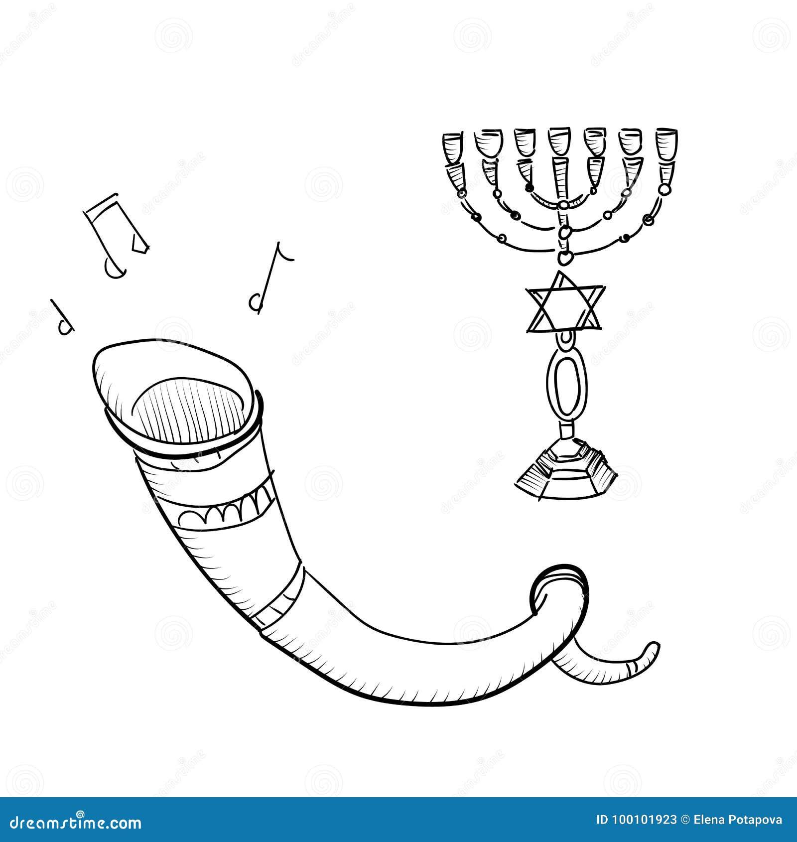 L ensemble de vecteur de croquis attribue la célébration de Rosh Hashanah, la nourriture traditionnelle, bougies, tore, shofar