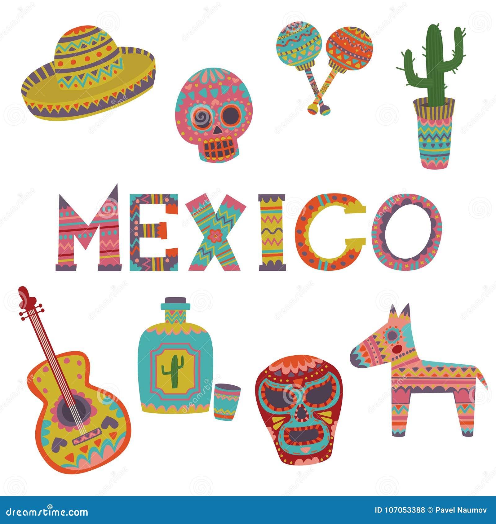 abab3b8595fb L ensemble du Mexique, symboles de bande dessinée mexicaine de culture  dirigent des illustrations