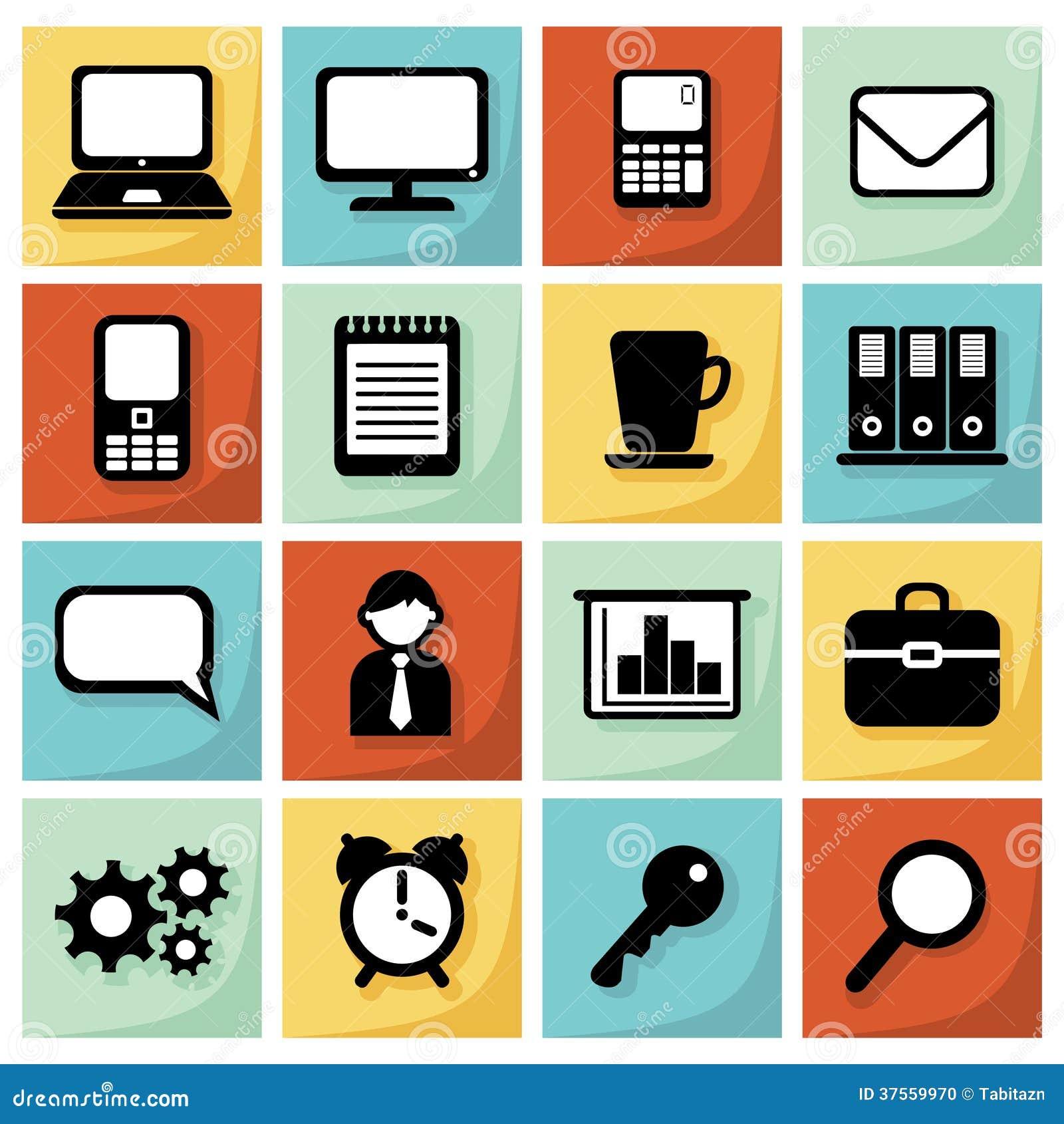 L ensemble moderne d icônes plates, bureau, affaires, illustration, web design objecte