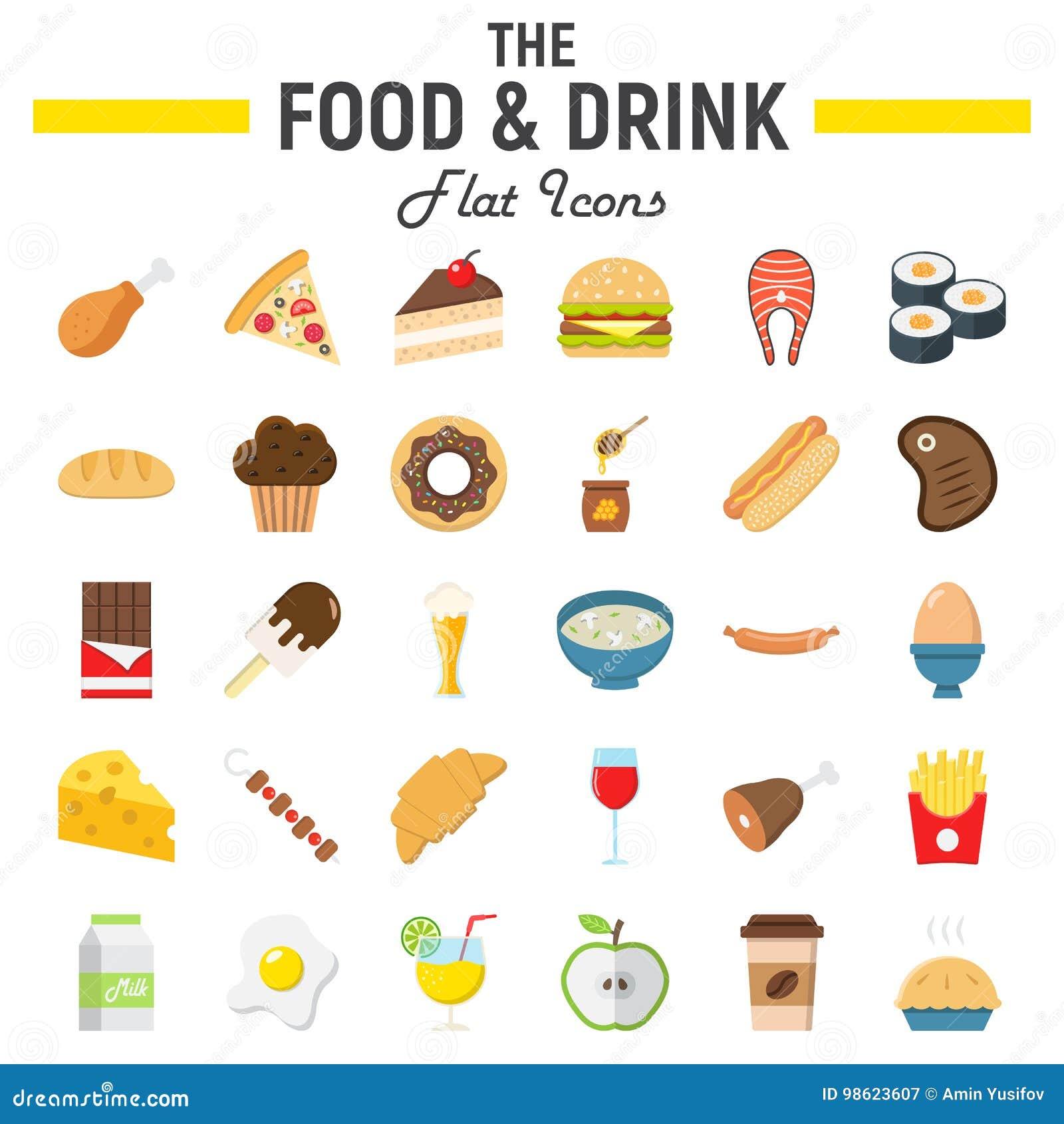 L ensemble plat d icône de nourriture et de boissons, repas signe