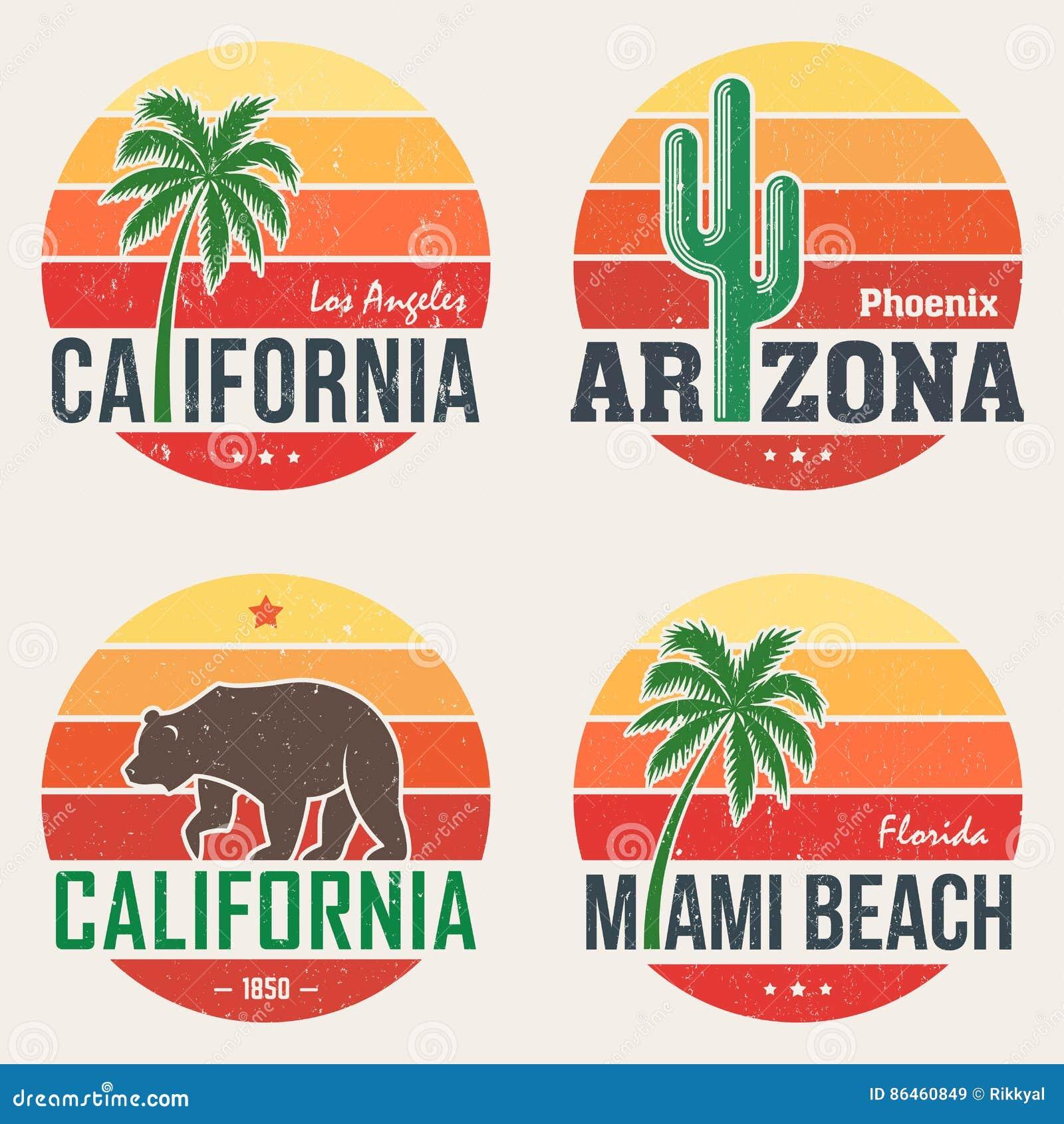 L ensemble T-shirt de Californie, Arizona, Miami imprime