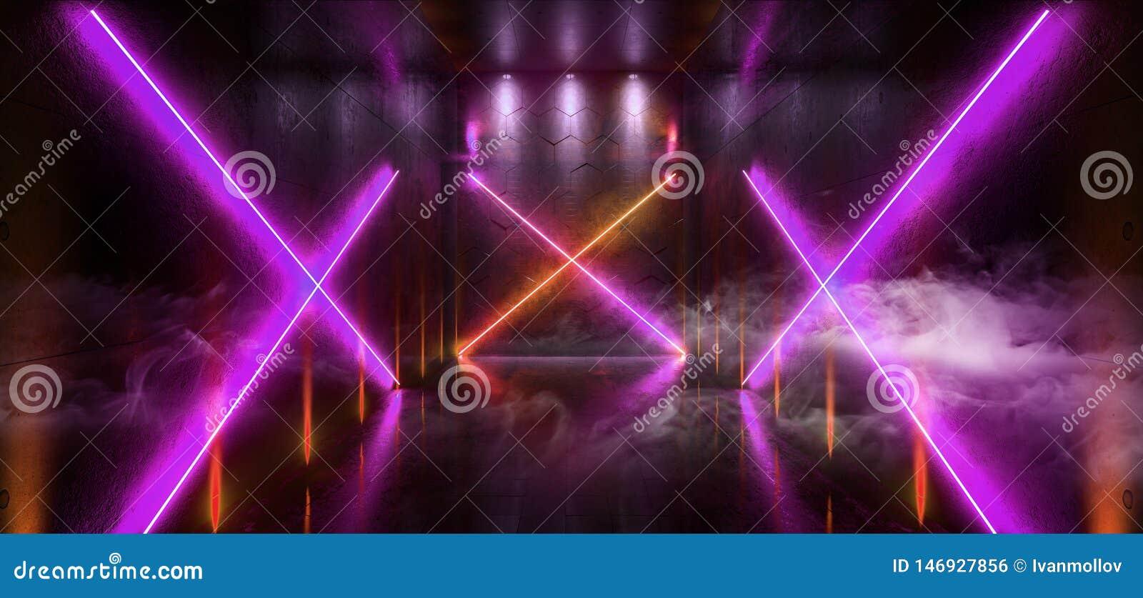 L entrée futuriste de porte de laser Hall Neon Tunnel Path Track de Sci fi de fumée met en lumière les couleurs vibrantes rougeoy