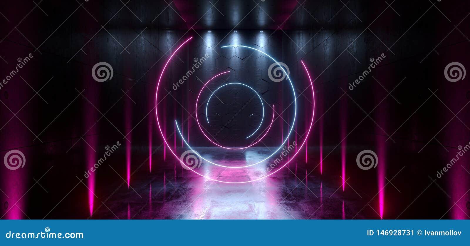 L entr?e futuriste de porte de laser Hall Neon Tunnel Path Track de Sci fi met en lumi?re des couleurs vibrantes bleues pourpres