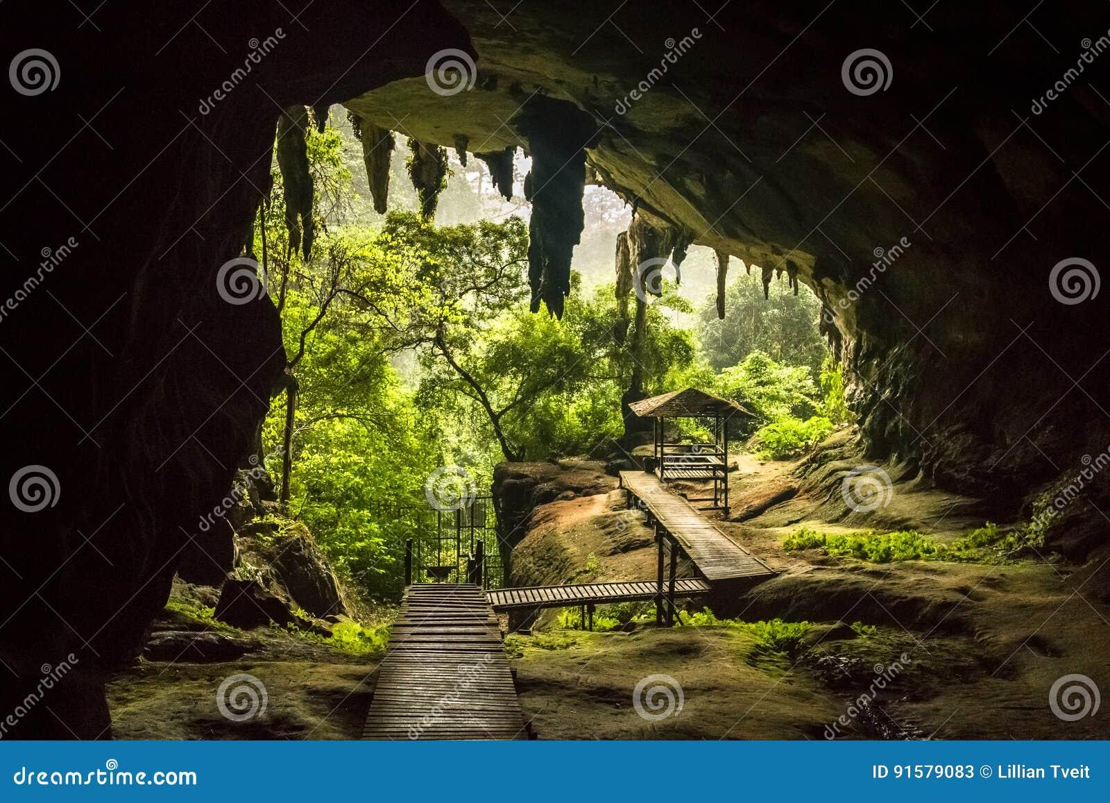 L entrata della caverna nel parco nazionale di Niah, Niah frana Sarawak Malesia