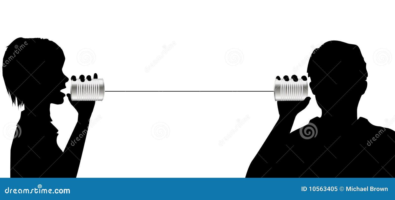 L entretien de gens écoutent sur la transmission de téléphone de boîte en fer blanc