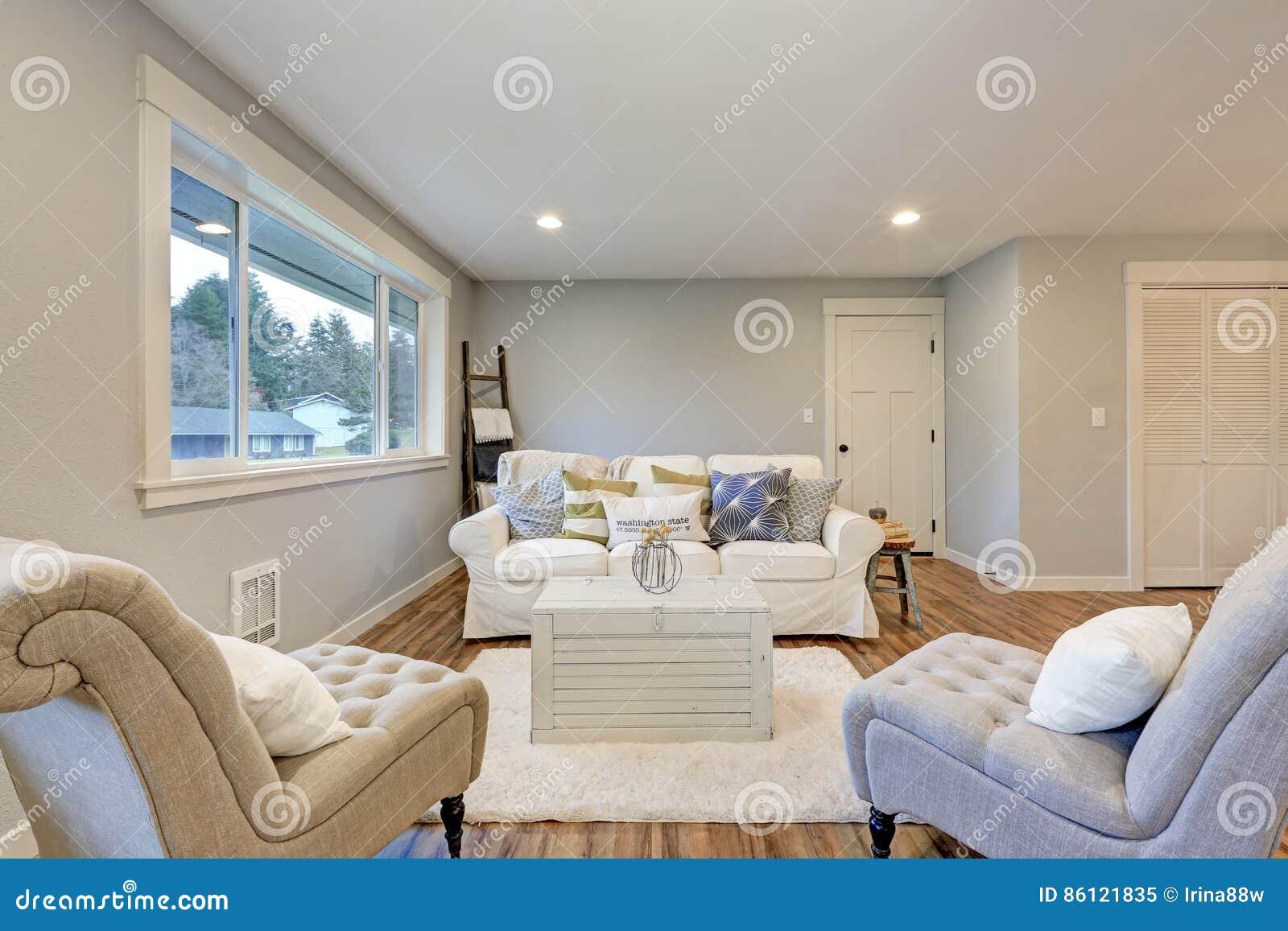 L Espace Confortable De Salon Avec Les Murs Mous De Gris