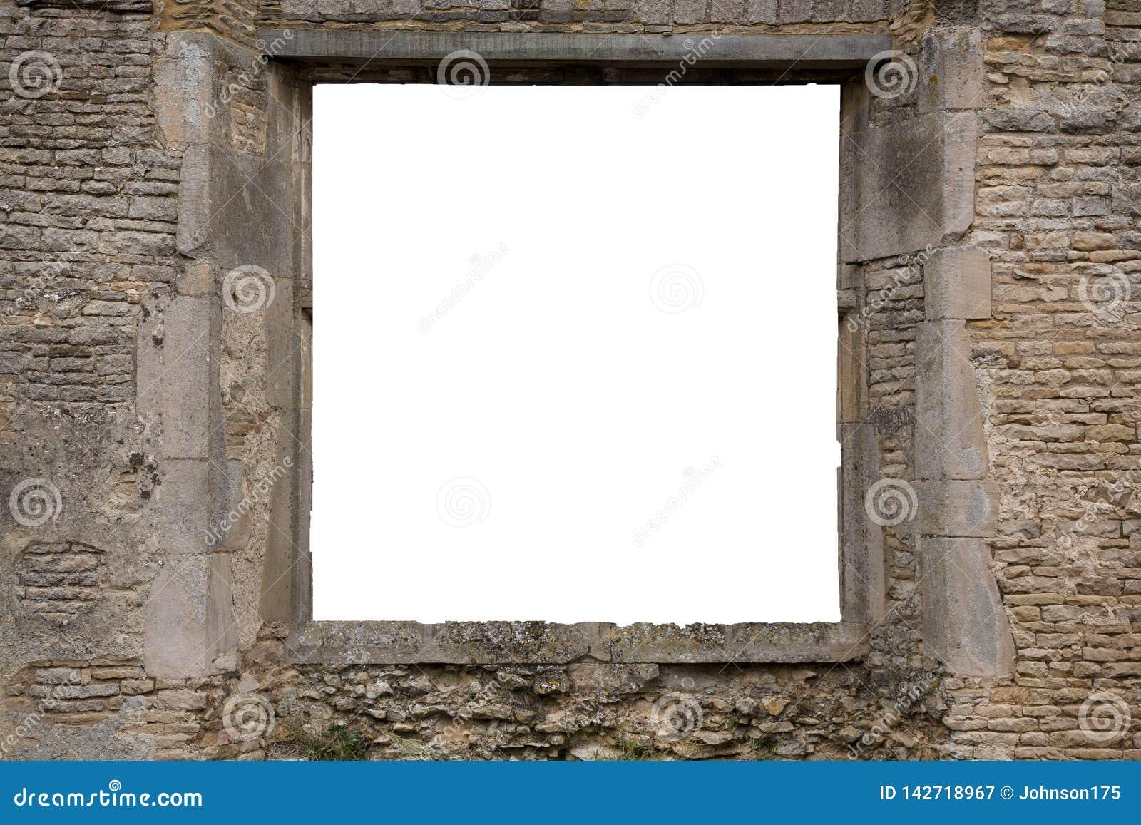 L espace de copie à l intérieur de la fenêtre d une vieille brique et d une ruine en pierre