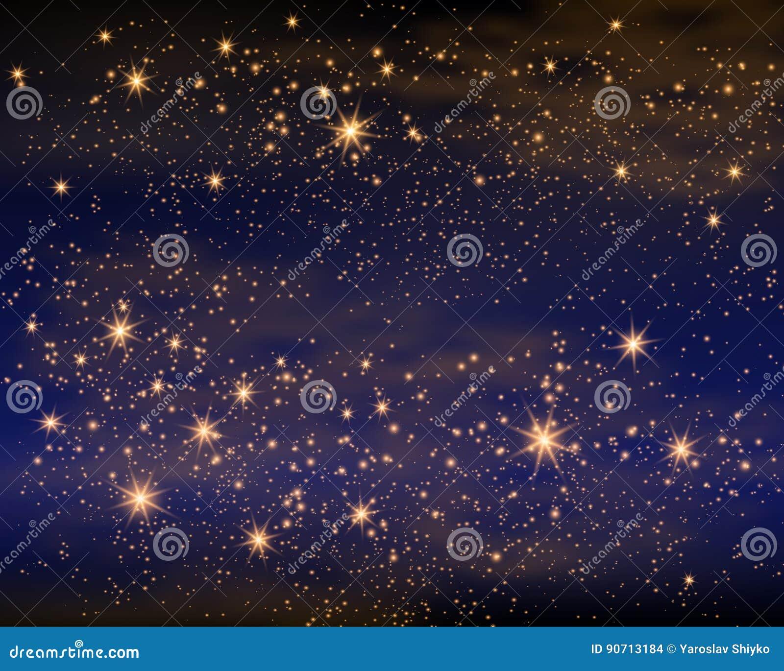L espace magique Infini féerique de la poussière Fond abstrait d univers Gog bleu et étoiles brillantes Illustration de vecteur