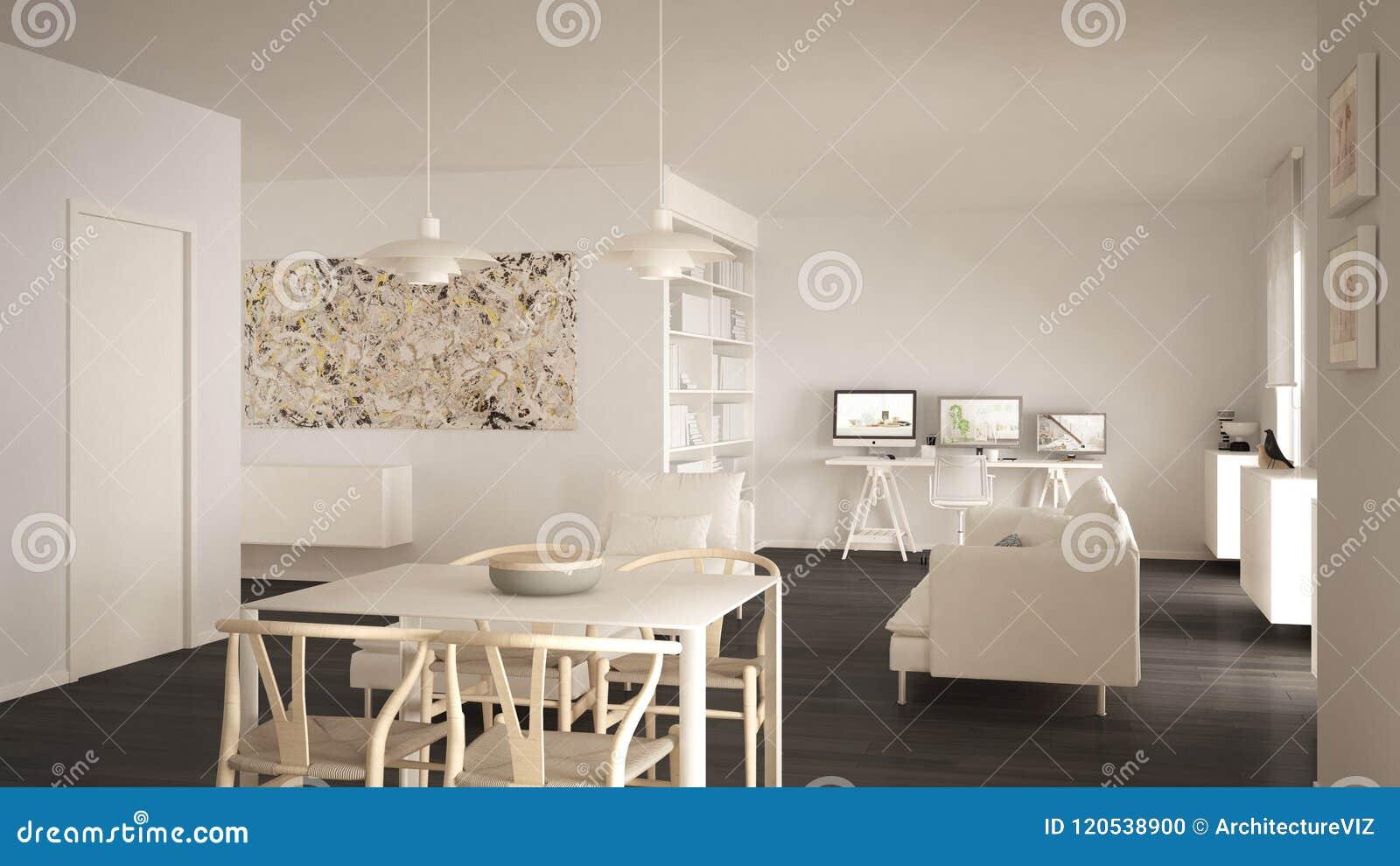 L espace ouvert minimaliste nordique de salon avec la table de