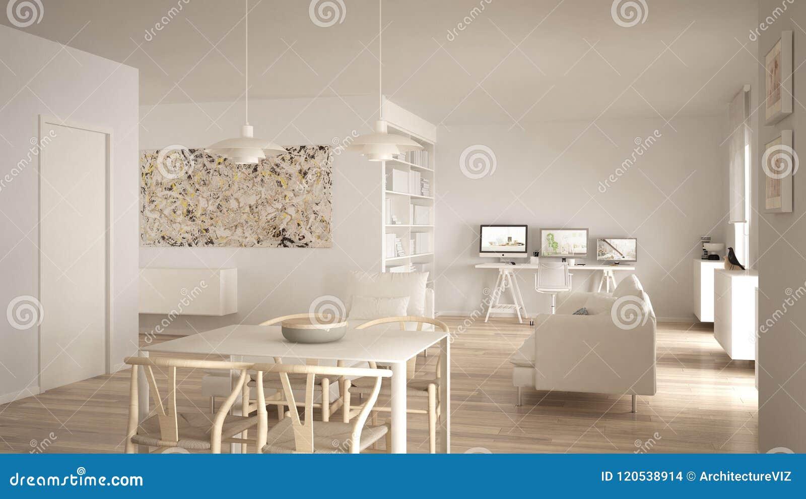 L Espace Ouvert Minimaliste Nordique De Salon Avec La Table De Salle