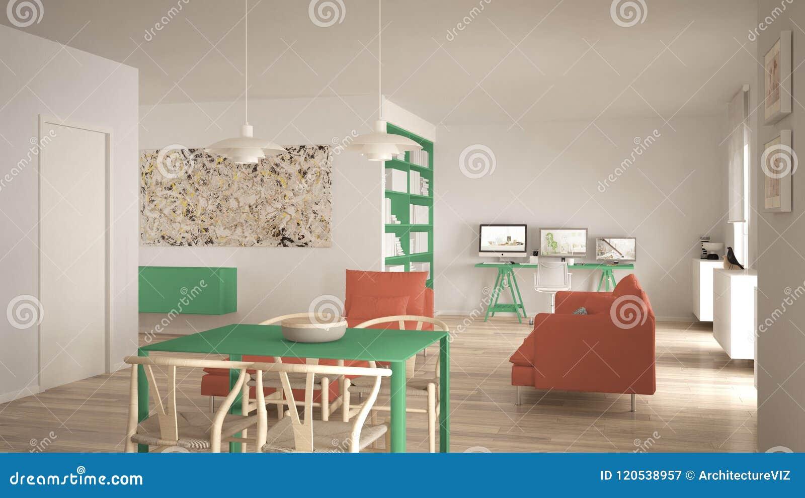 L Espace Ouvert Minimaliste Nordique De Salon Avec La Table