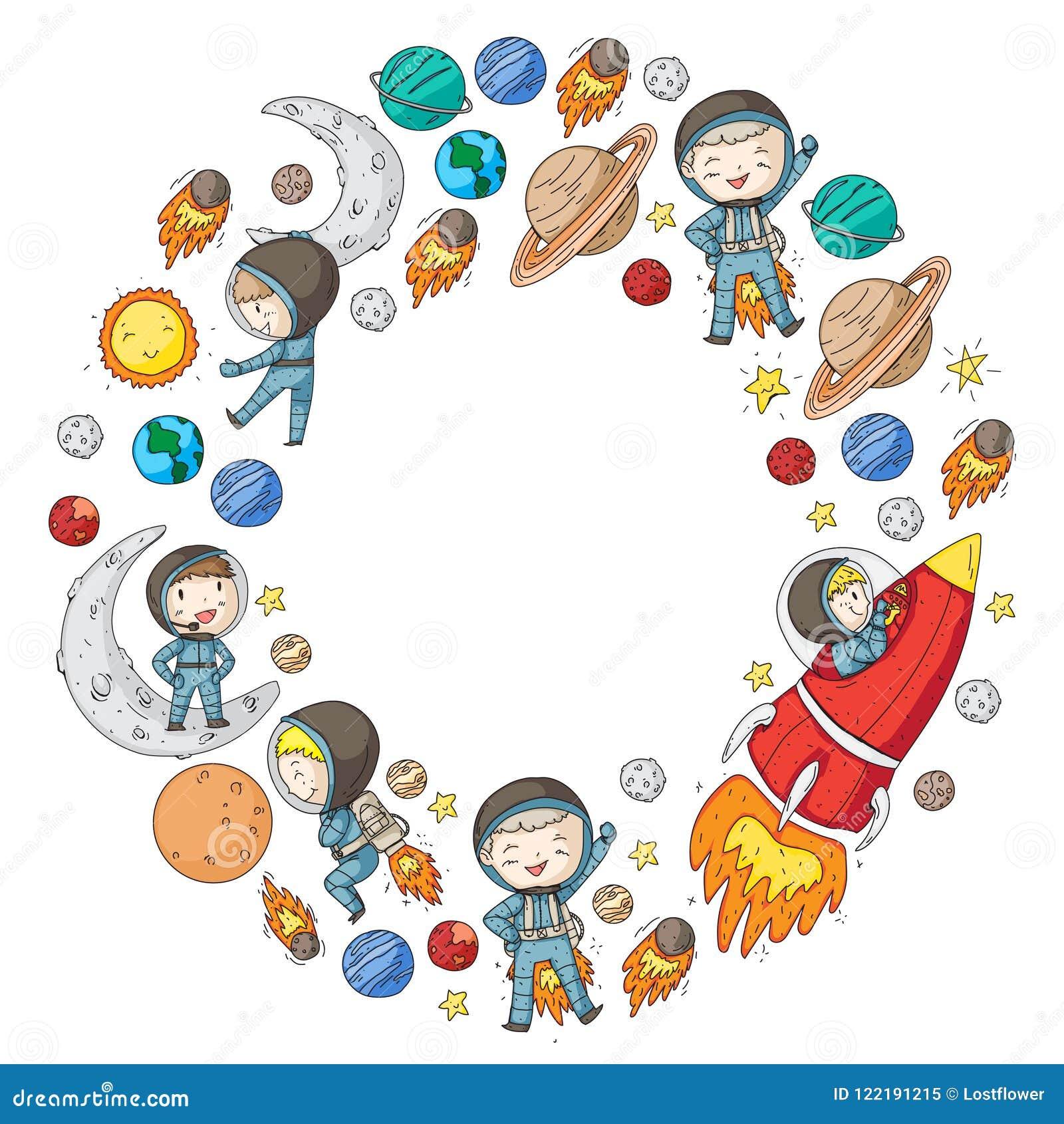 L espace pour des enfants Enfants et exploration de cosmos Aventures, planètes, étoiles La terre et lune Rocket, navette, le sole