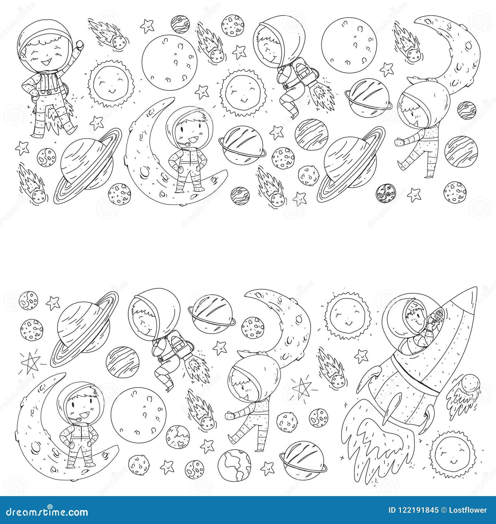 L espace pour des enfants Page de coloration, livre Enfants et exploration de cosmos Aventures, planètes, étoiles La terre et lun