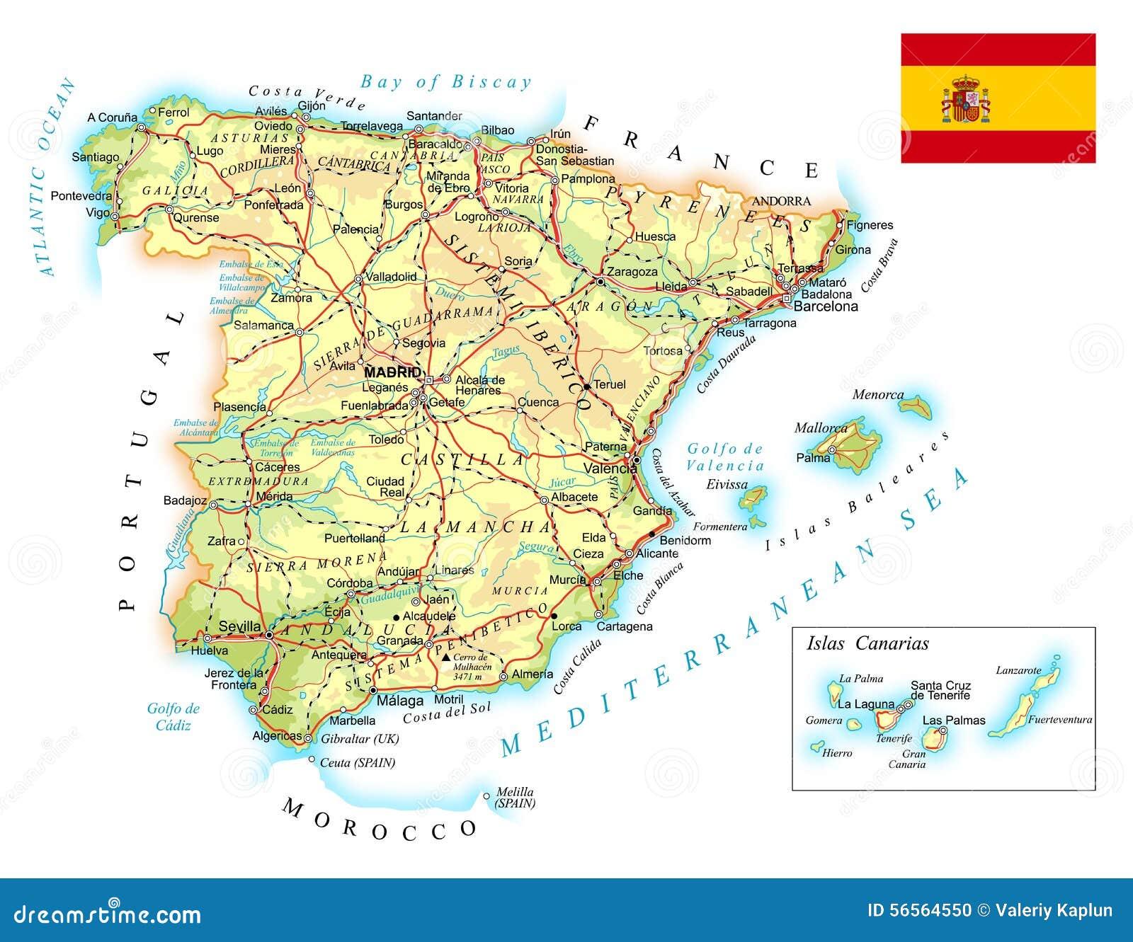 Carte De Lespagne Barcelone.L Espagne Carte Topographique Detaillee Illustration