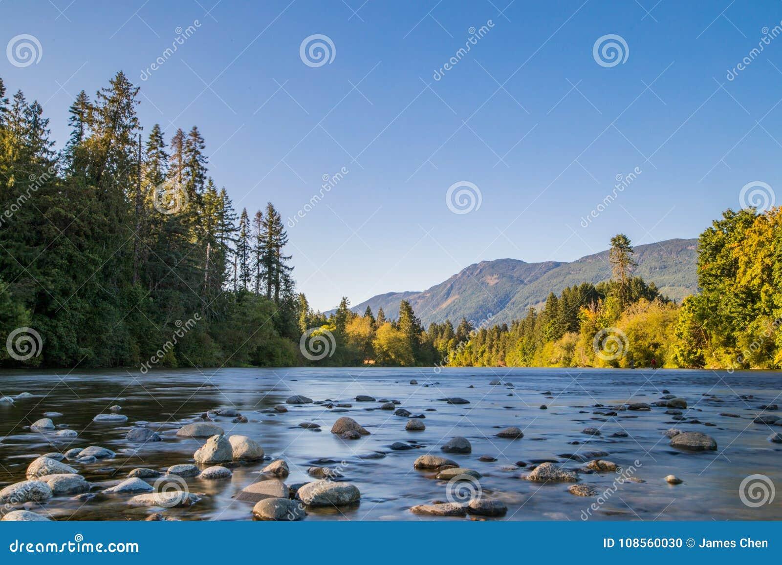 L esposizione lunga del paesaggio del fiume ha sparato in porto Alberni, isola di Vancouver, BC, il Canada Posto famoso per Salmo