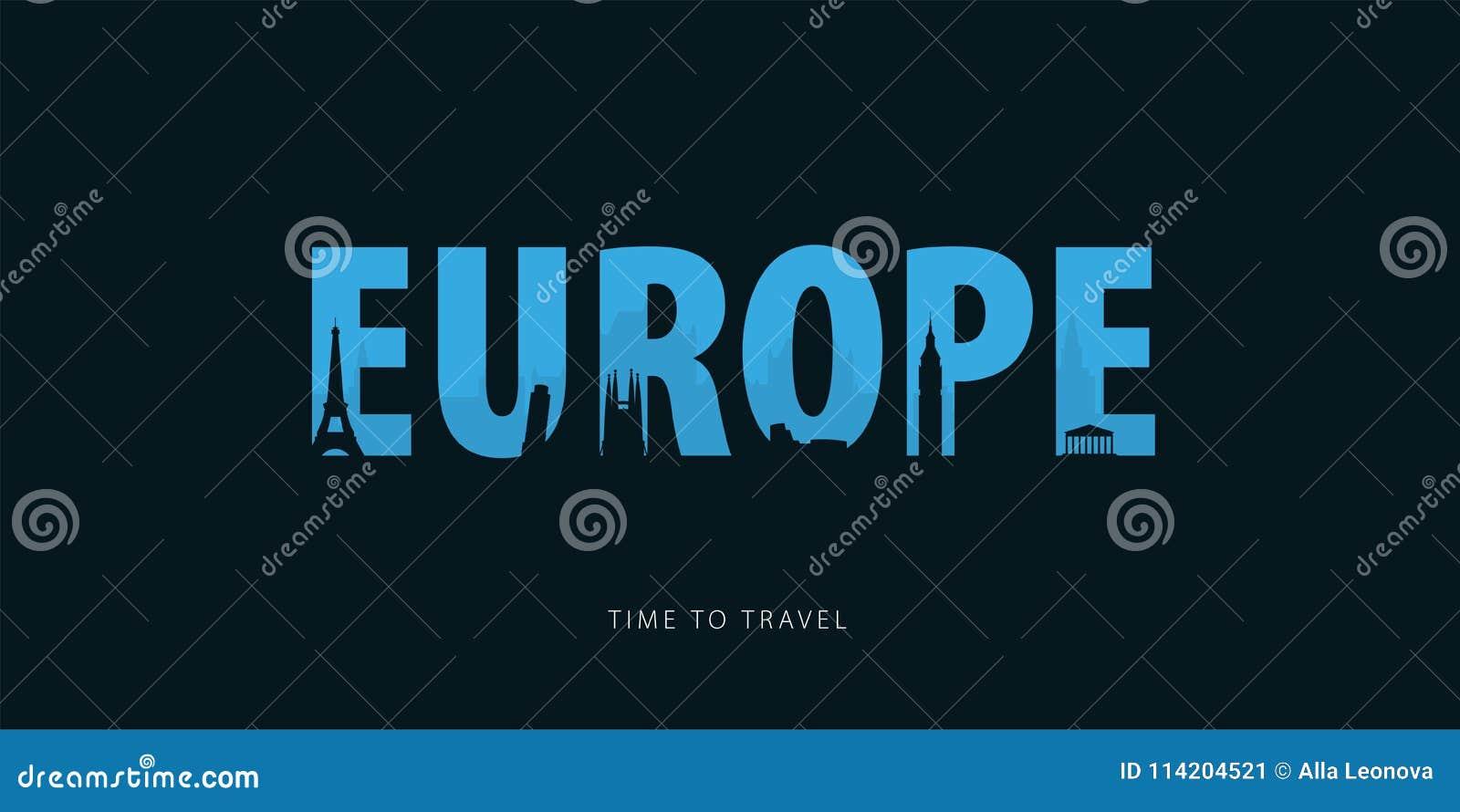 L europe Bunner de voyage avec des silhouettes des vues Heure de se déplacer Illustration de vecteur