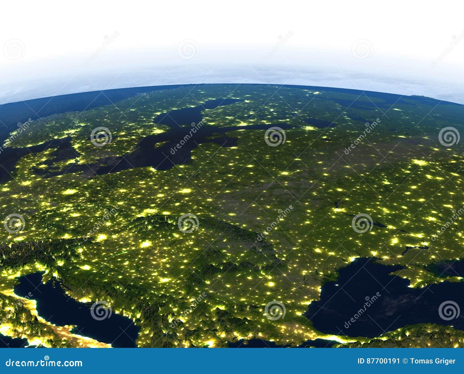L Europe de l Est la nuit sur terre de planète