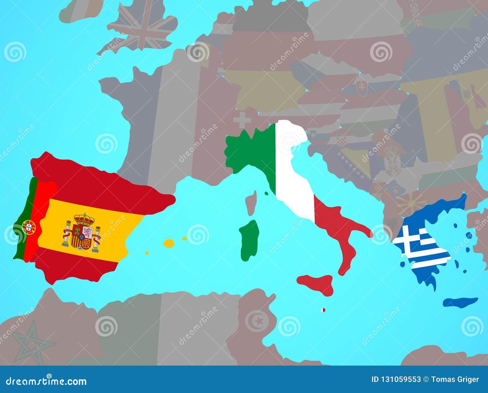 carte europe du sud L'Europe Du Sud Avec Des Drapeaux Sur La Carte Illustration Stock