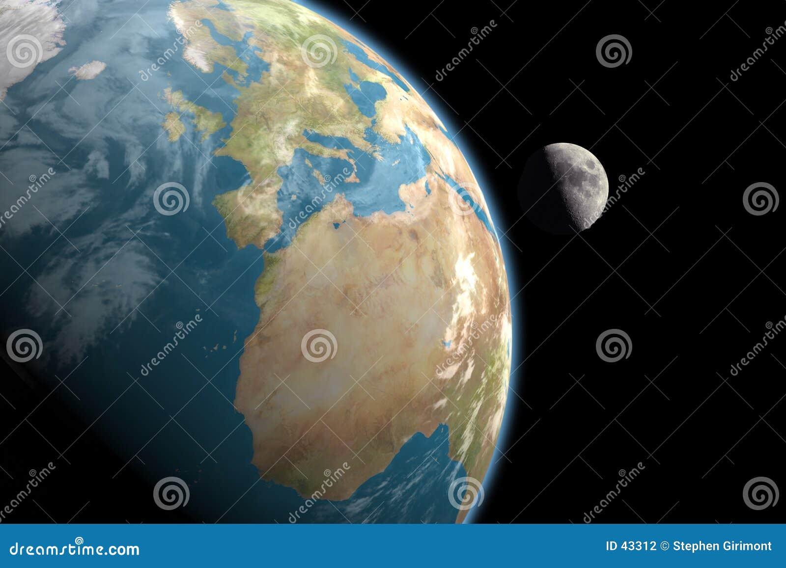 L Europe, l Afrique et lune, aucunes étoiles