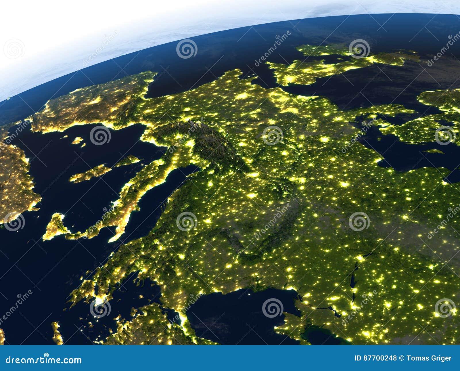 L Europe la nuit sur terre de planète