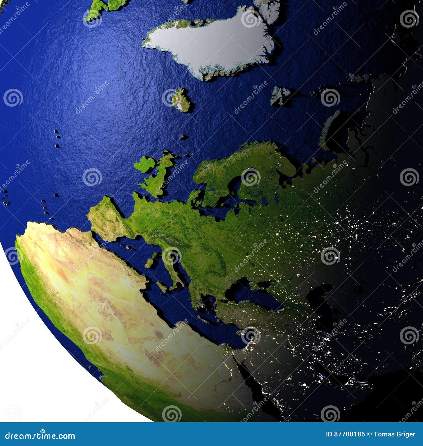L Europe sur le modèle de la terre avec la terre de relief