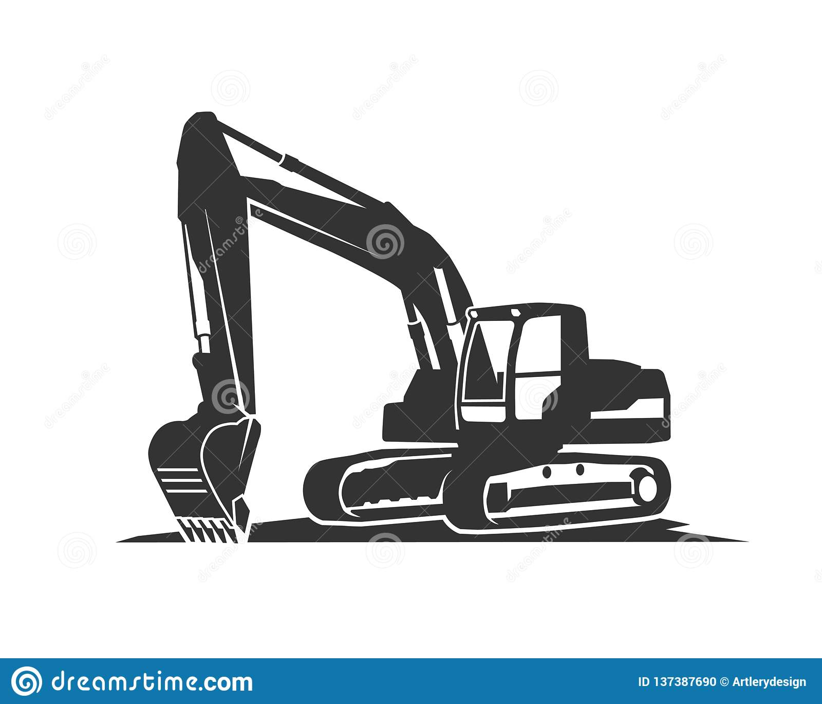 L excavatrice de noir de silhouette sur un fond blanc