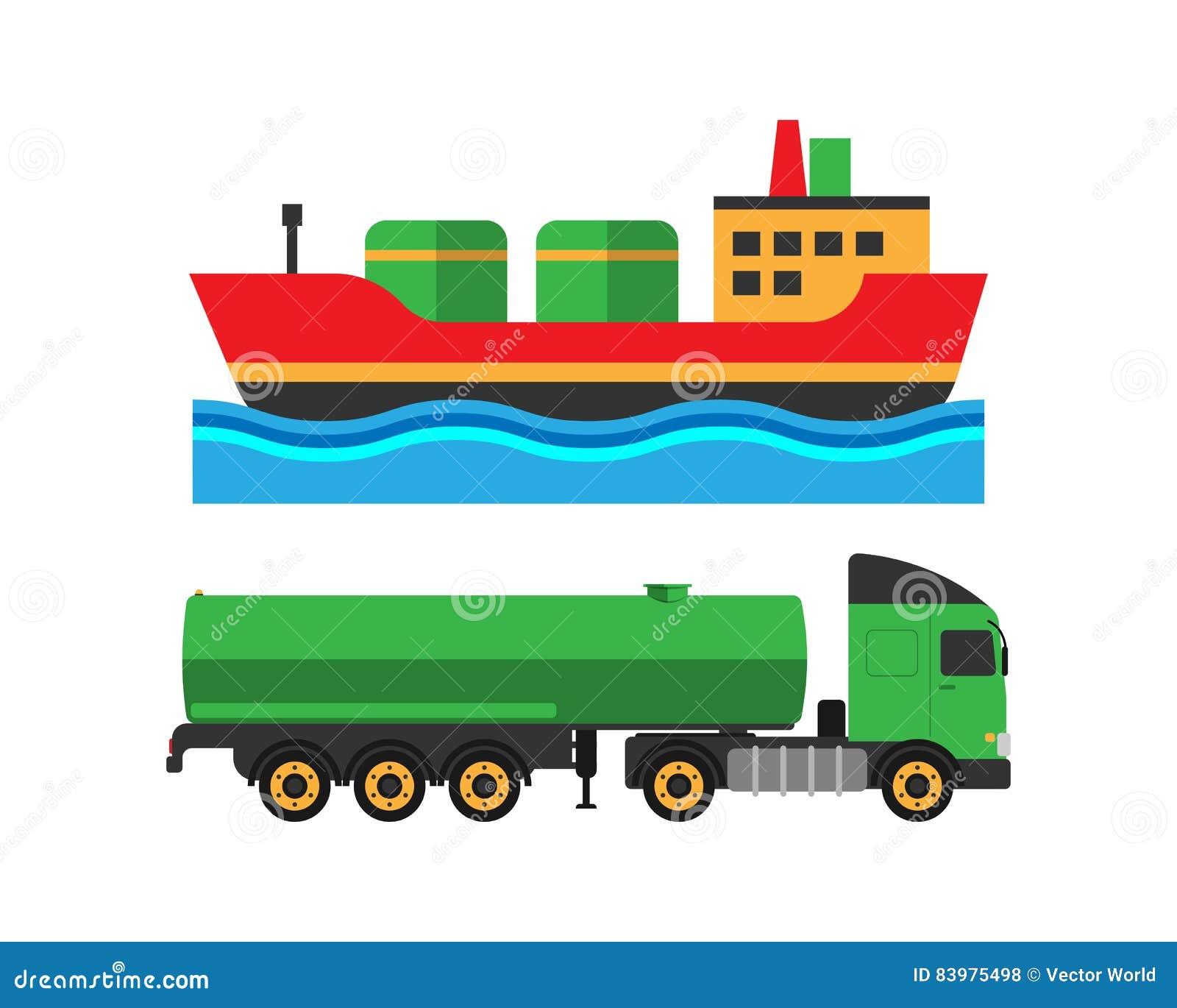 L expédition de camion d extraction de l huile et le transport de bateau dirigent l illustration