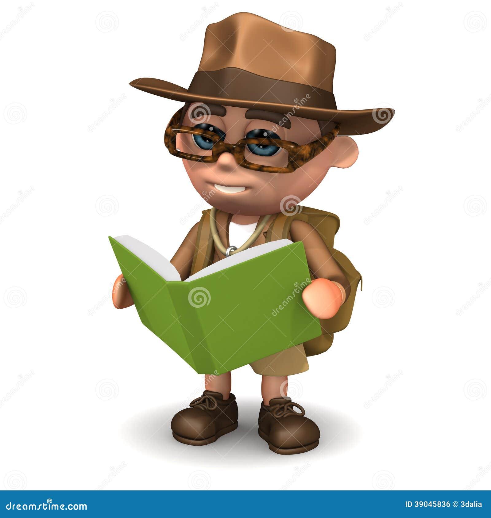 L explorateur 3d lit un livre
