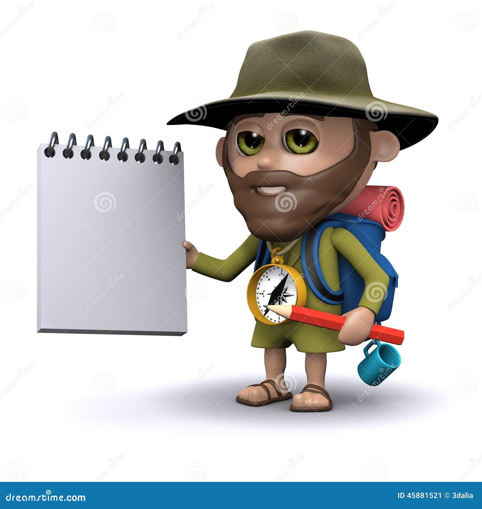 L explorateur 3d a un bloc-notes et un crayon