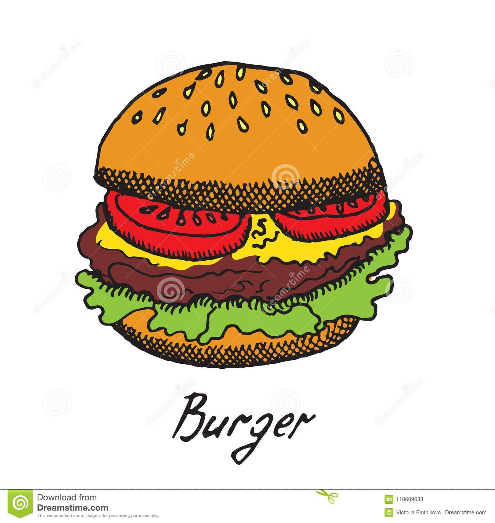 L hamburger traditionnel avec les tranches fraîches de tomates, le fromage de cheddar et la laitue poussent des feuilles