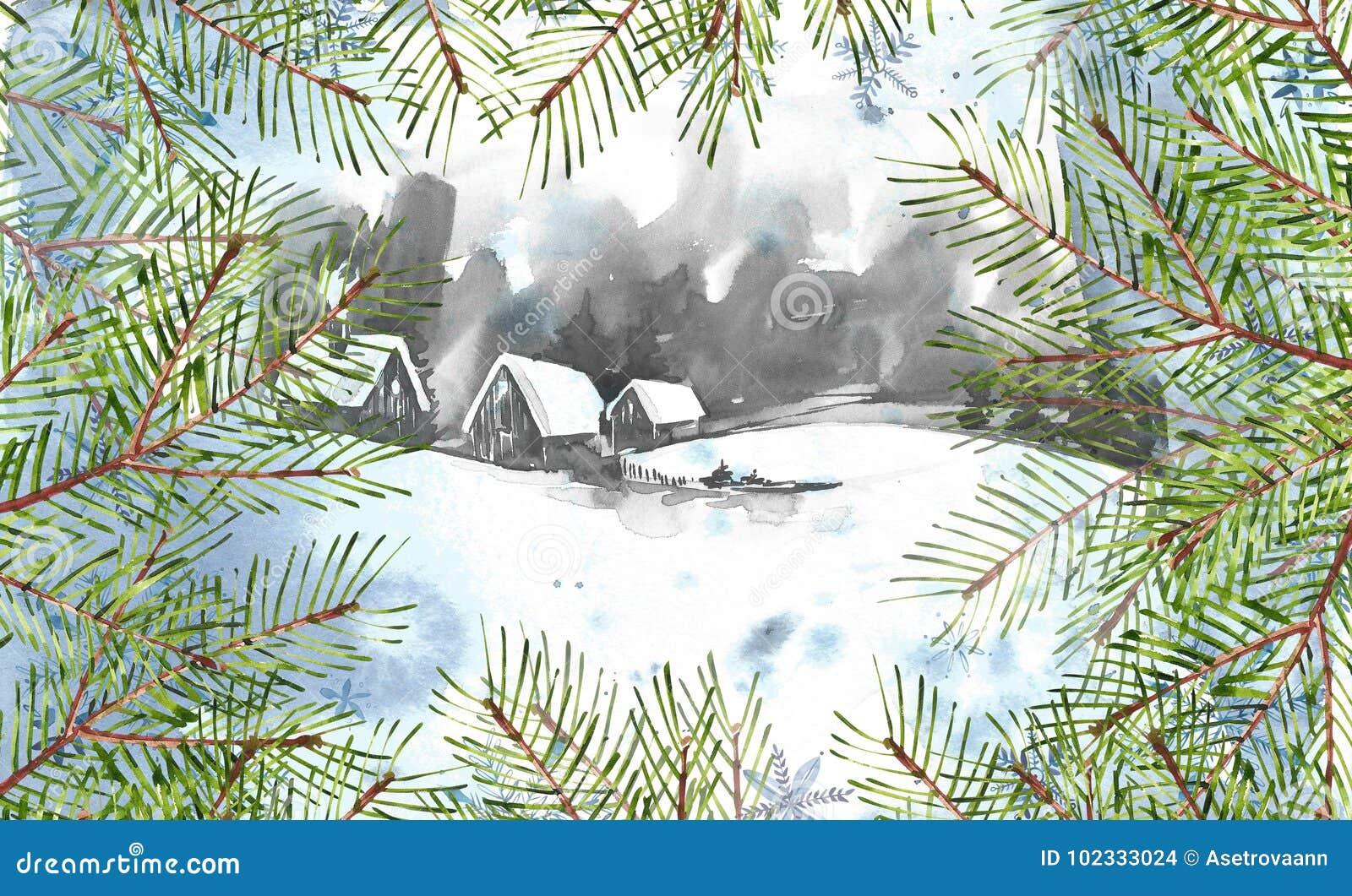 L hiver de blanc de l Espagne de montagne d horizontal de fond Peinture d aquarelle, photo - forêt, nature, arbre Il peut être em