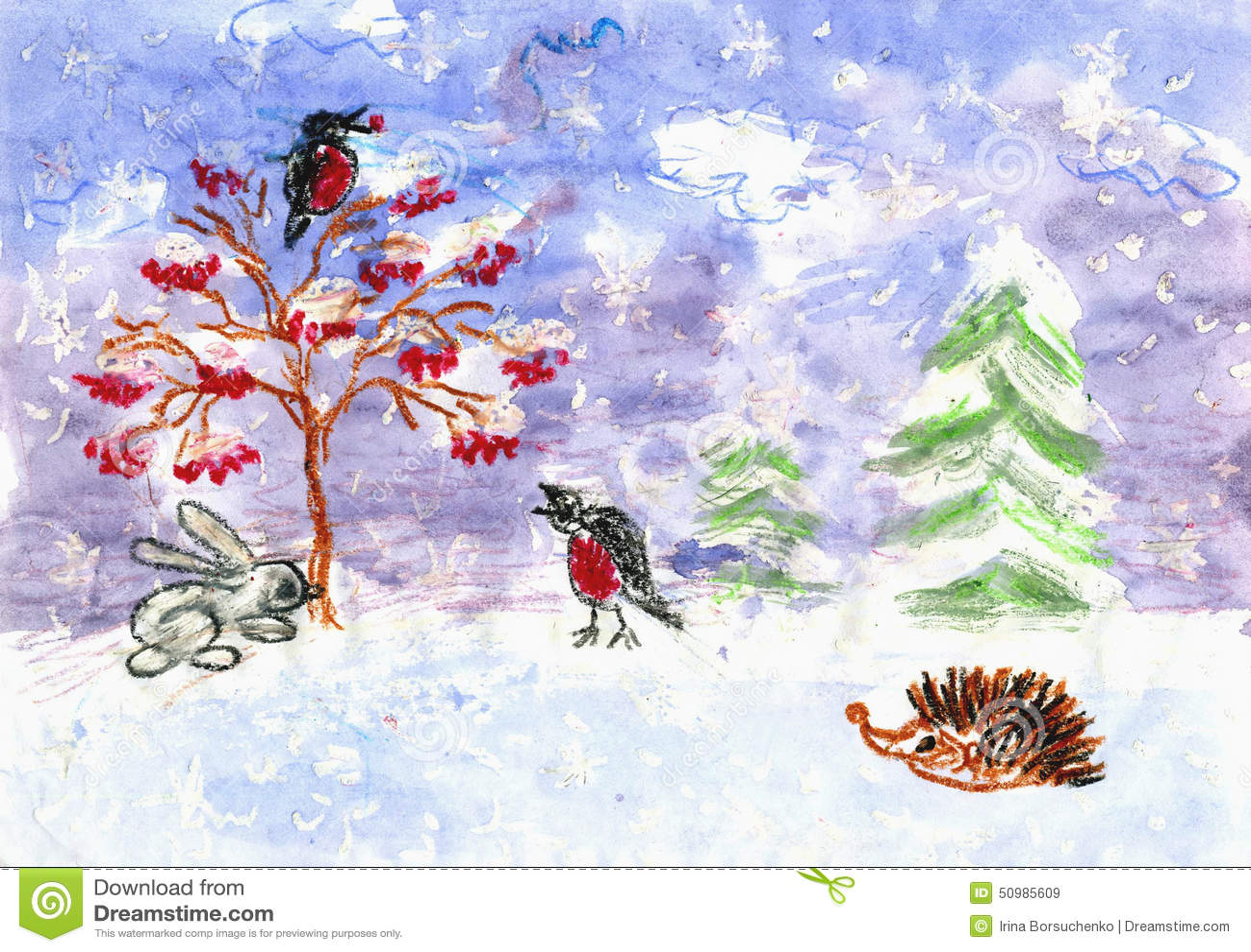L 39 hiver le dessin des enfants couleur d 39 eau morceaux de cire de craie illustration stock - Dessin de l hiver ...