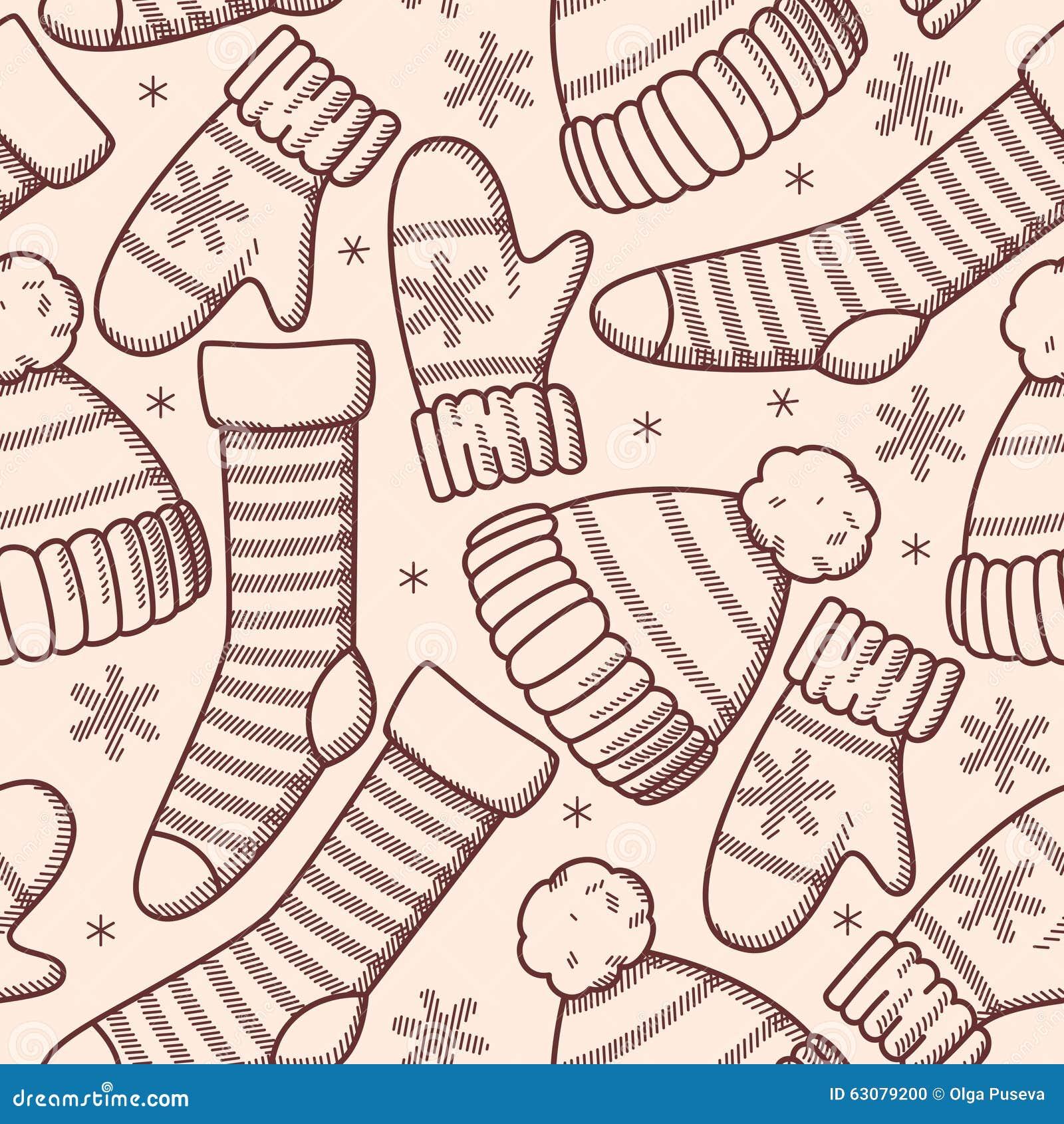 Download L'hiver vêtx sans couture illustration de vecteur. Illustration du heureux - 63079200