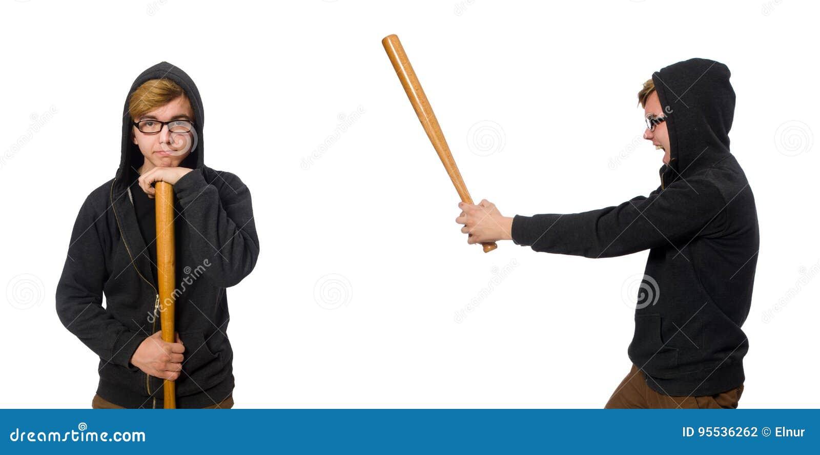 L homme agressif avec la batte de baseball d isolement sur le blanc