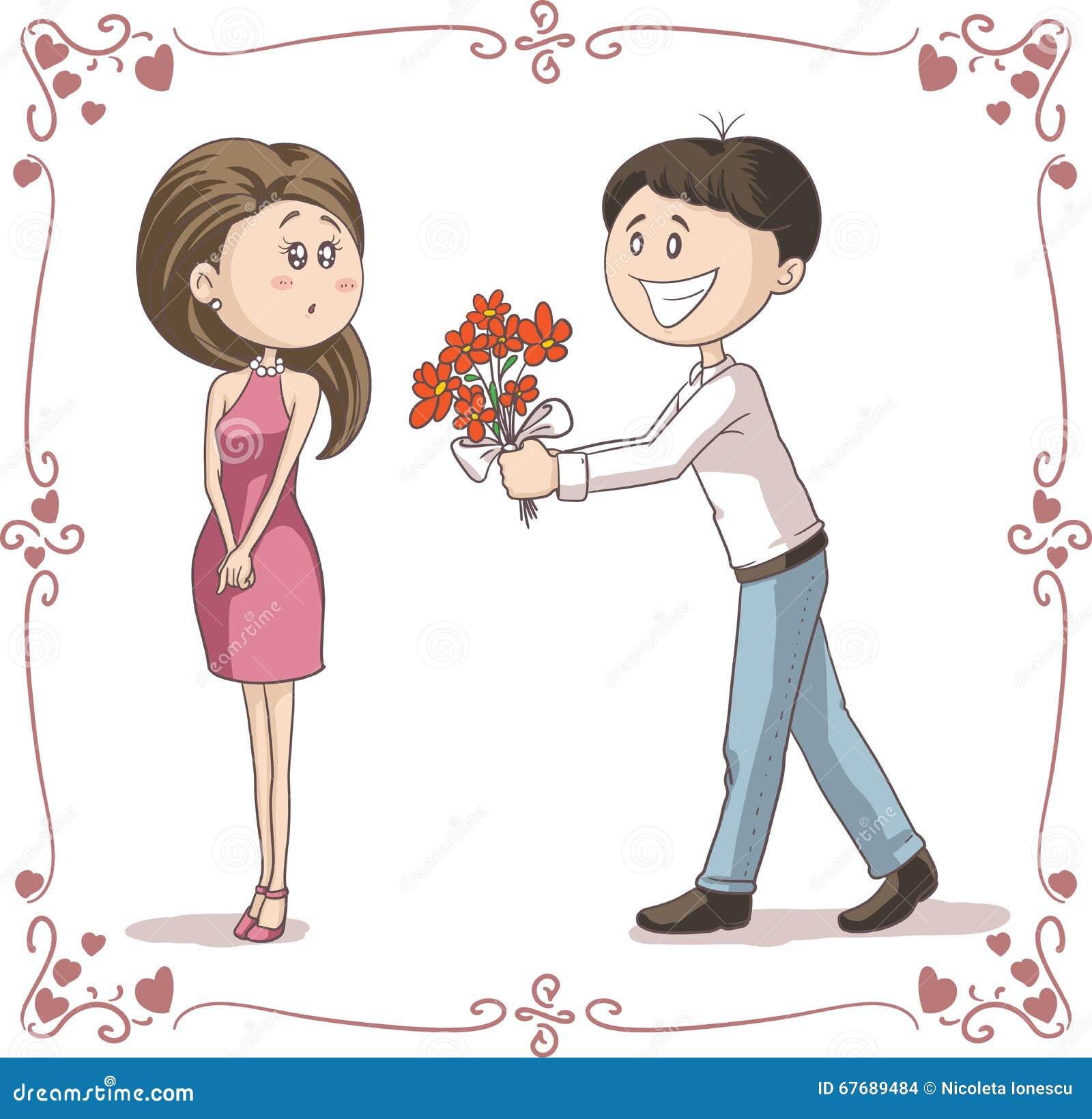 L 39 homme apporte des fleurs pour lancer la bande dessin e for Bouquet de fleurs pour un homme