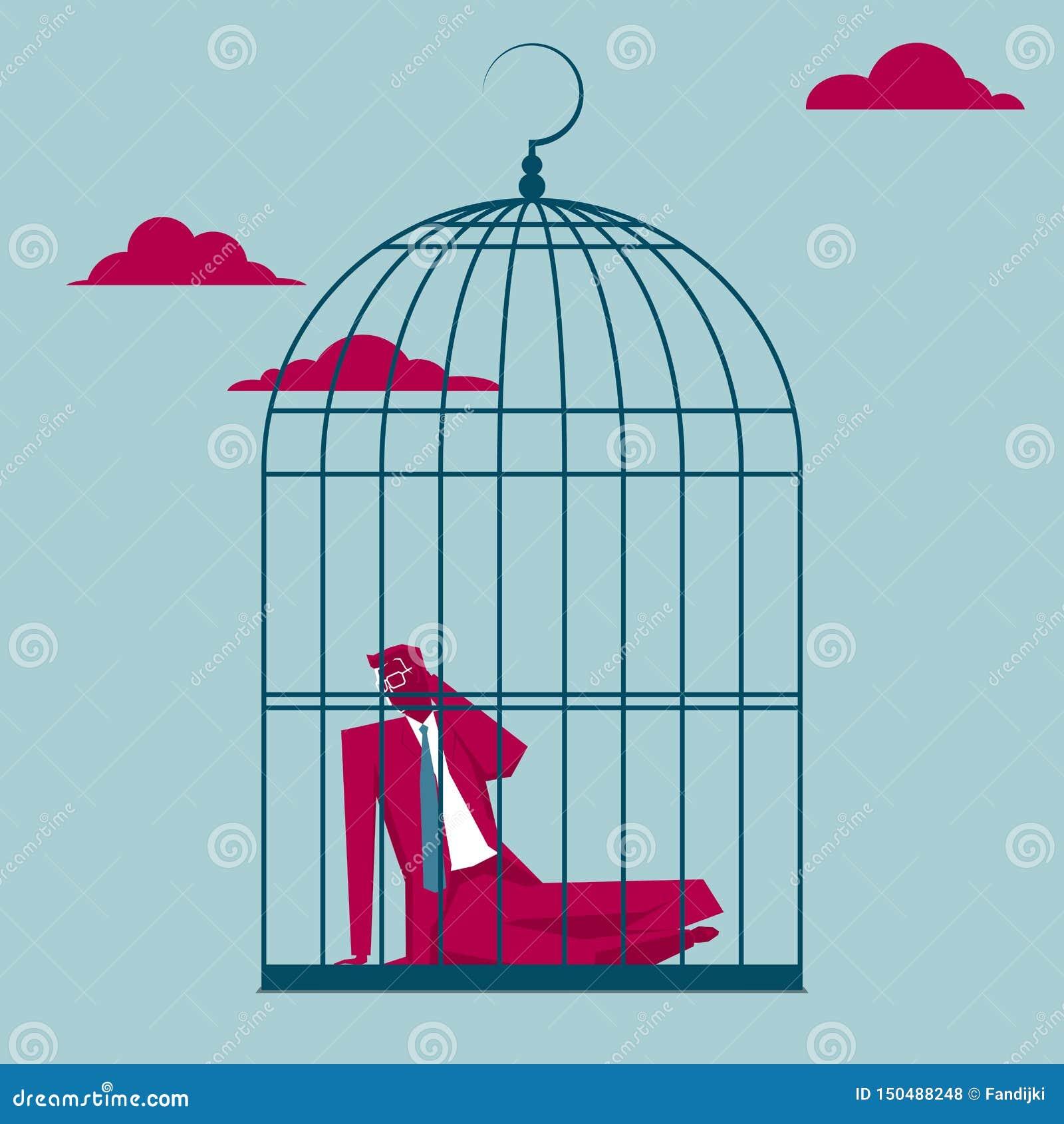 L homme d affaires a été emprisonné dans une cage à oiseaux