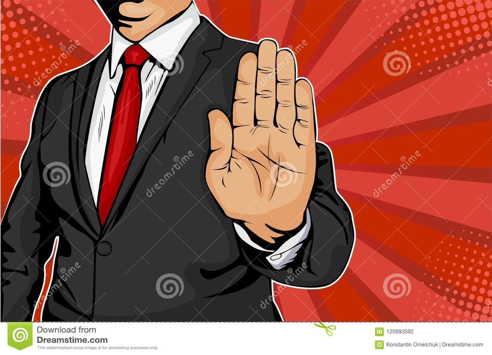 L homme d affaires éteint sa main et ordres pour s arrêter illustration de vecteur d art de bruit rétro