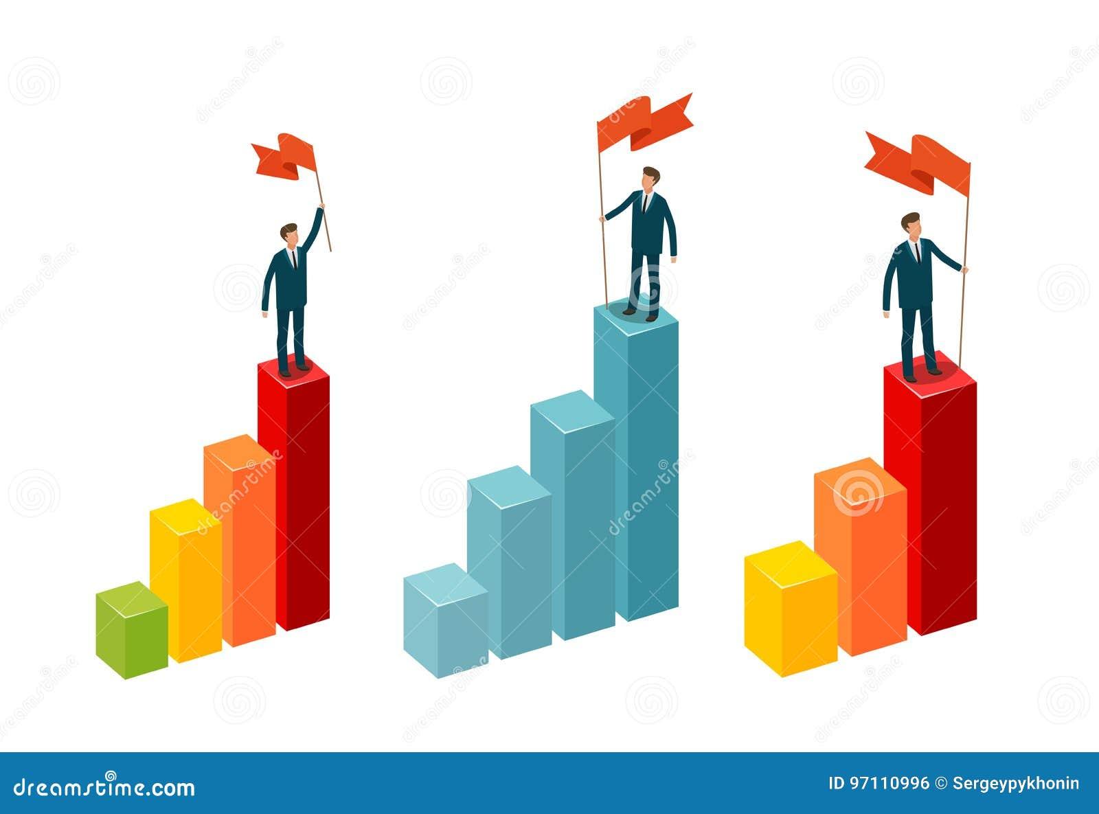 L homme d affaires avec le drapeau se tient sur le dessus Concept d affaires Illustration de vecteur d Infographics