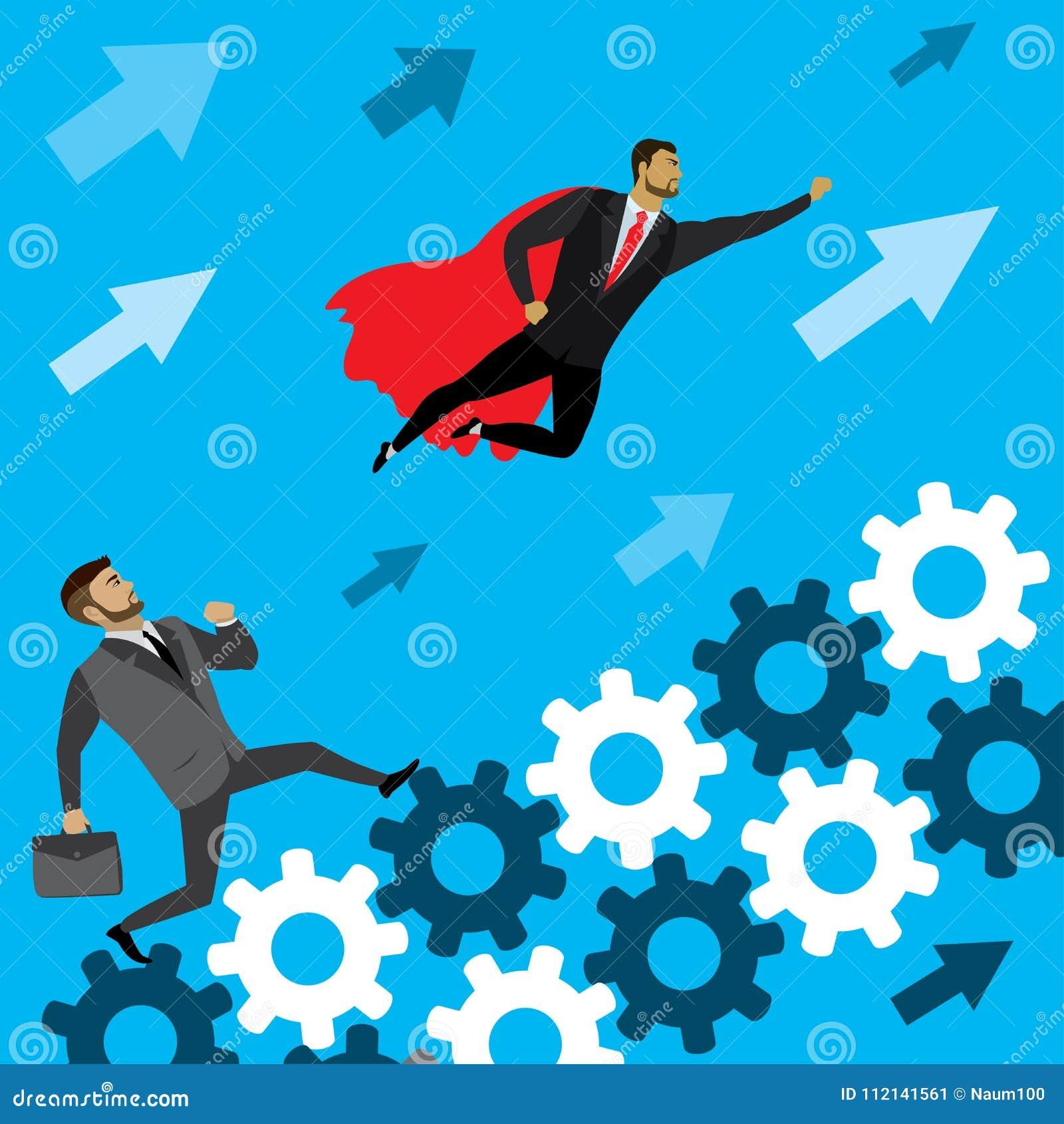 L homme d affaires courent sur les vitesses au succès et au superhéros