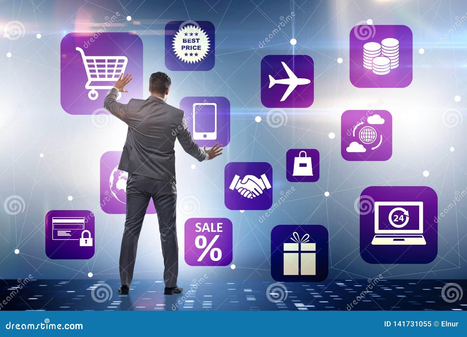 L homme d affaires dans le commerce en ligne et le concept de achat