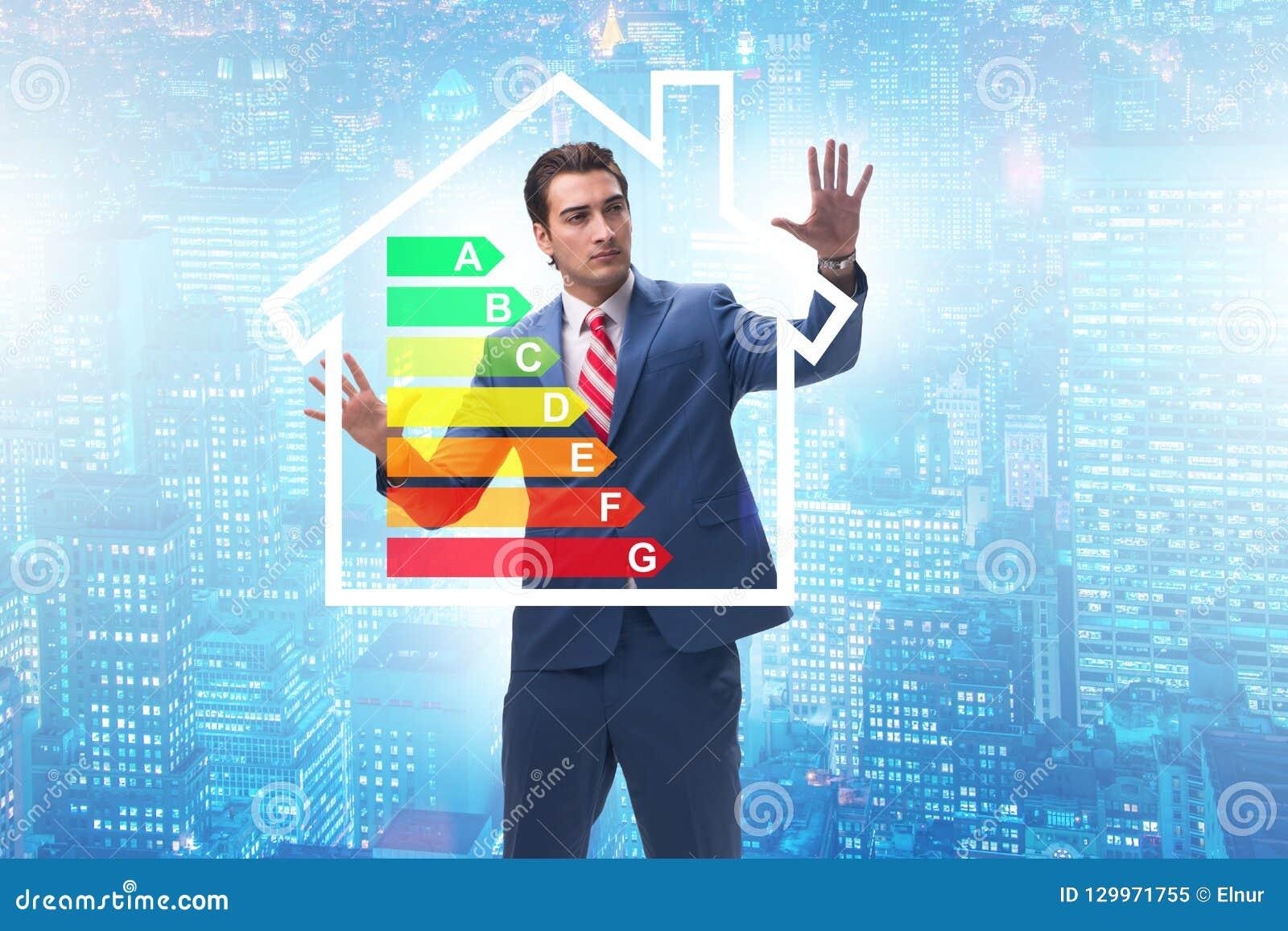 L homme d affaires dans le concept de rendement énergétique